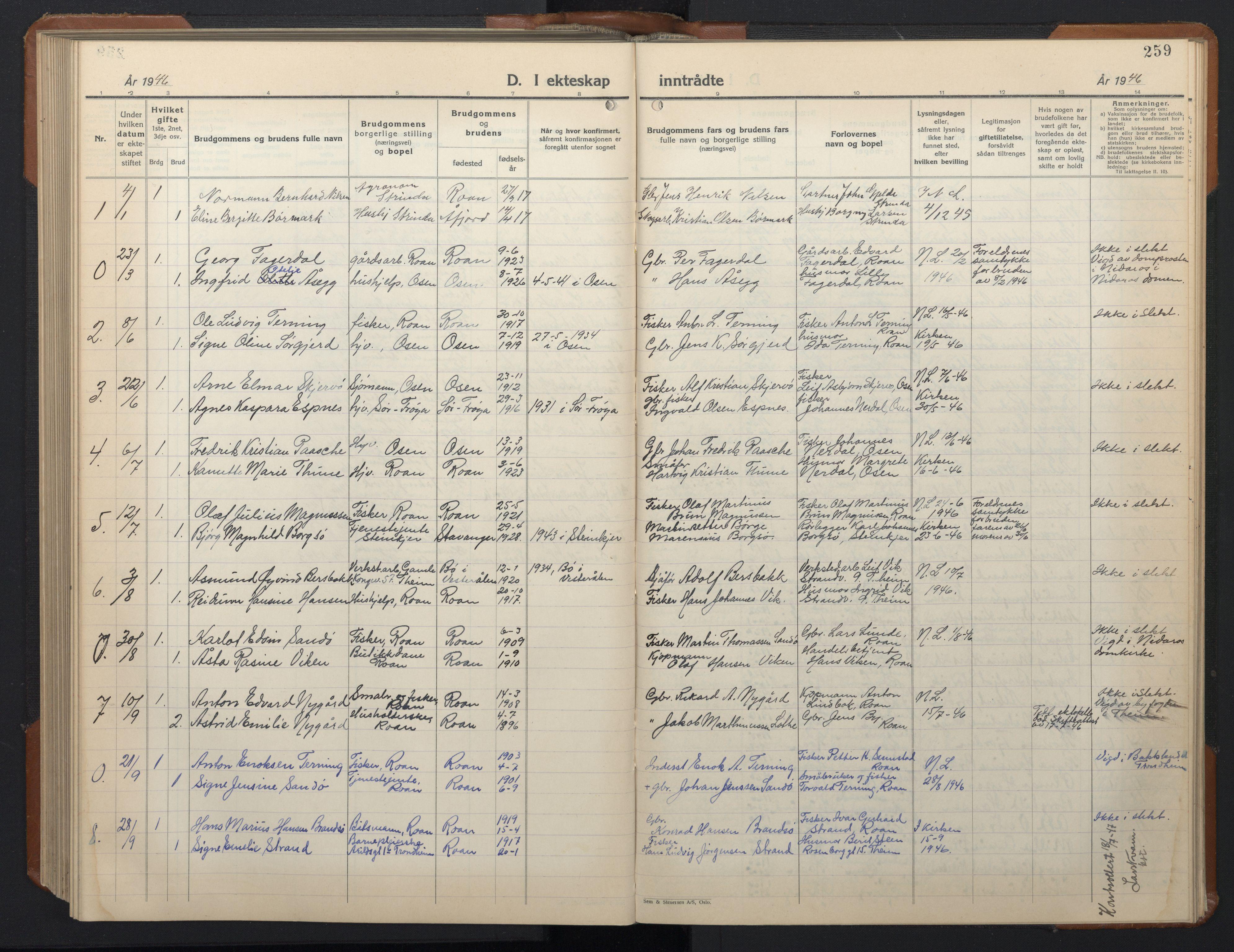 SAT, Ministerialprotokoller, klokkerbøker og fødselsregistre - Sør-Trøndelag, 657/L0718: Klokkerbok nr. 657C05, 1923-1948, s. 259
