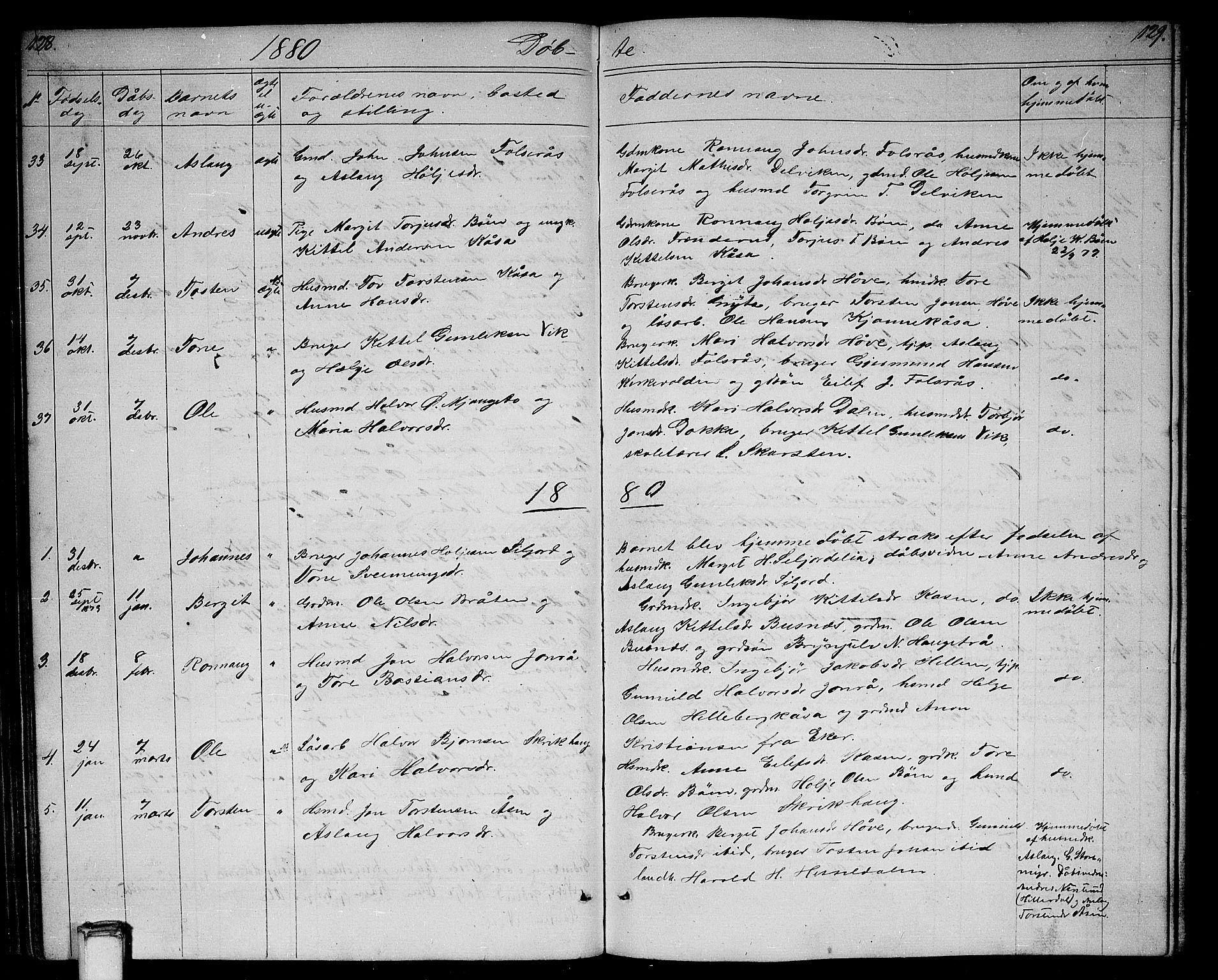 SAKO, Gransherad kirkebøker, G/Ga/L0002: Klokkerbok nr. I 2, 1854-1886, s. 128-129