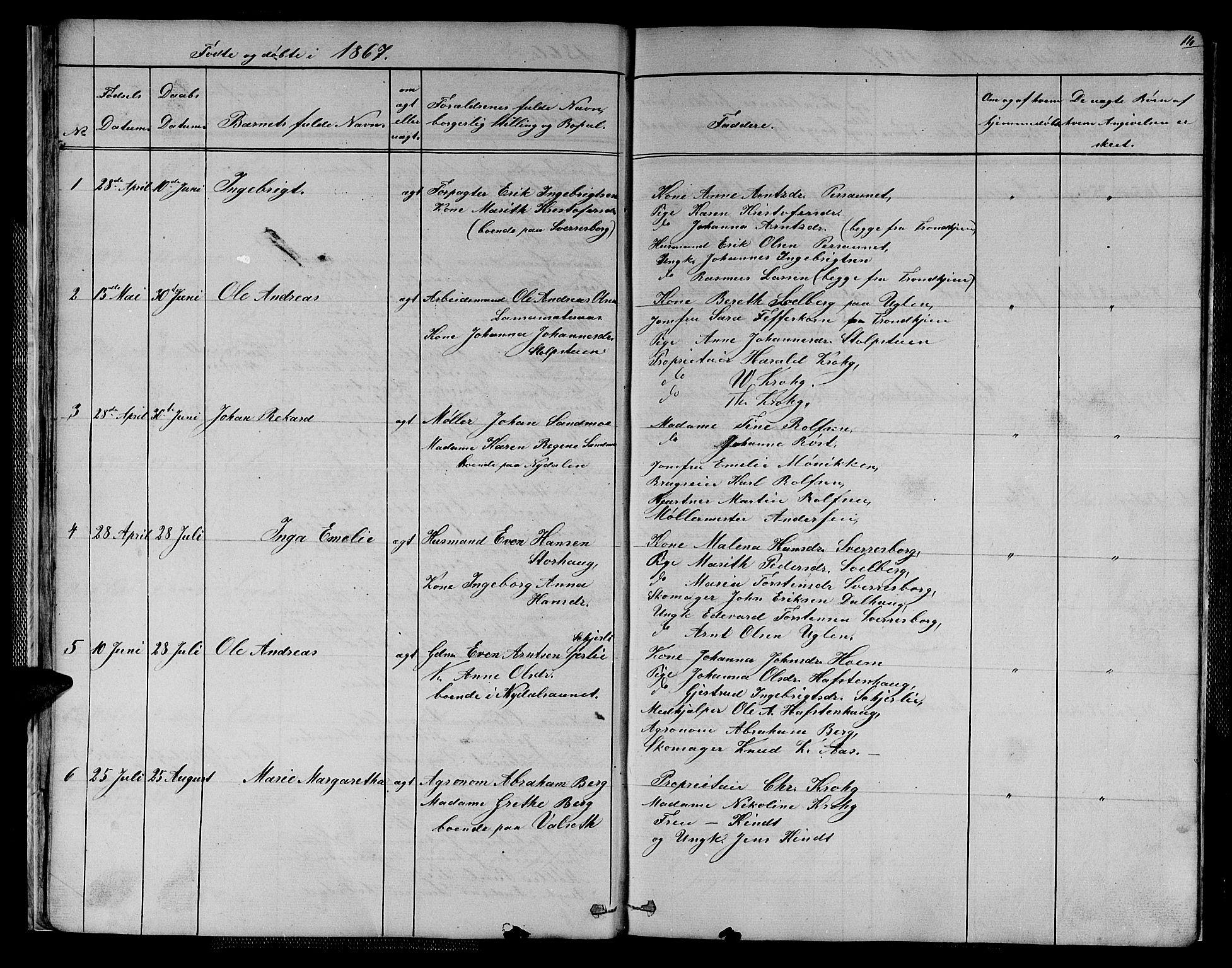 SAT, Ministerialprotokoller, klokkerbøker og fødselsregistre - Sør-Trøndelag, 611/L0353: Klokkerbok nr. 611C01, 1854-1881, s. 14