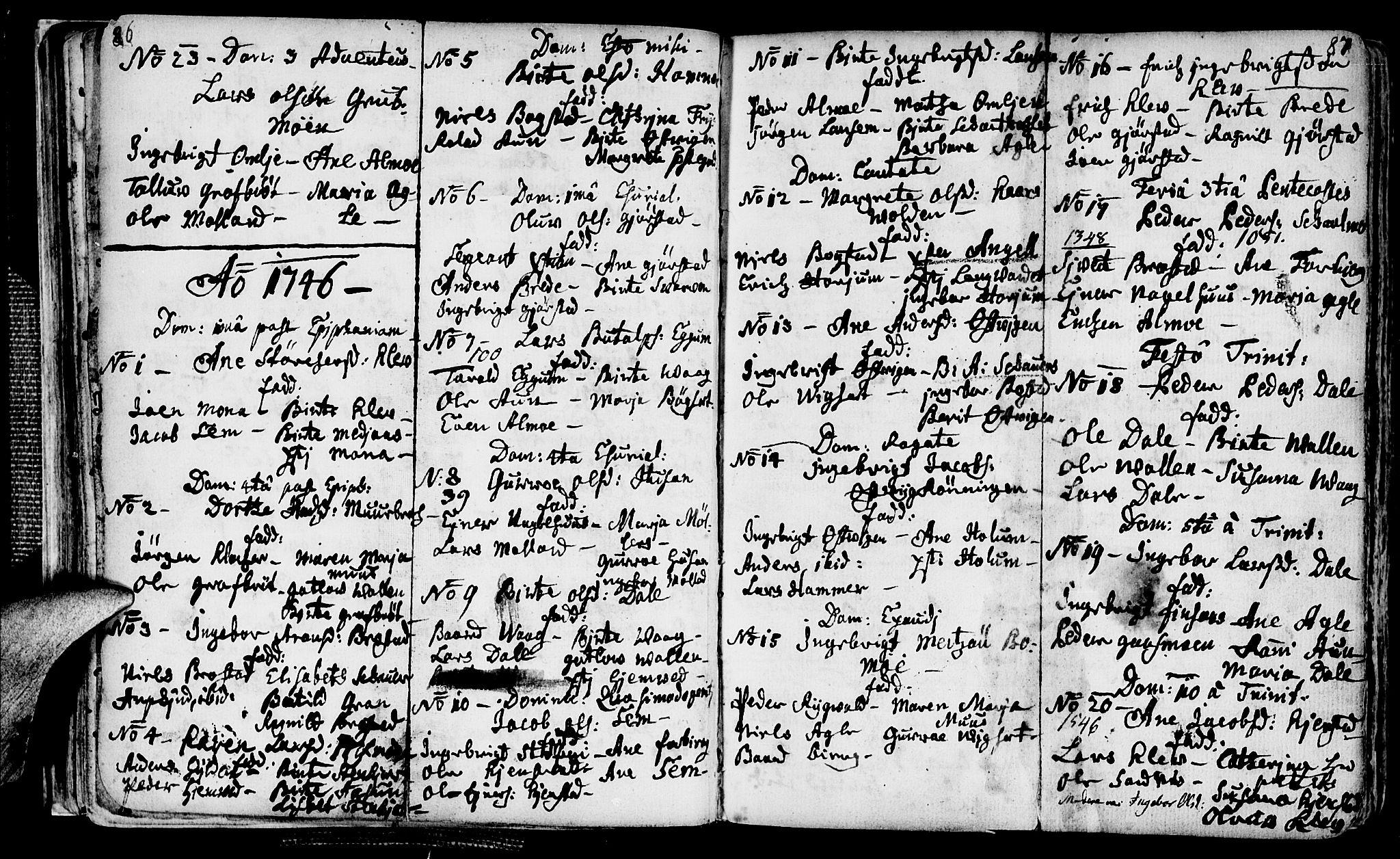 SAT, Ministerialprotokoller, klokkerbøker og fødselsregistre - Nord-Trøndelag, 749/L0467: Ministerialbok nr. 749A01, 1733-1787, s. 86-87