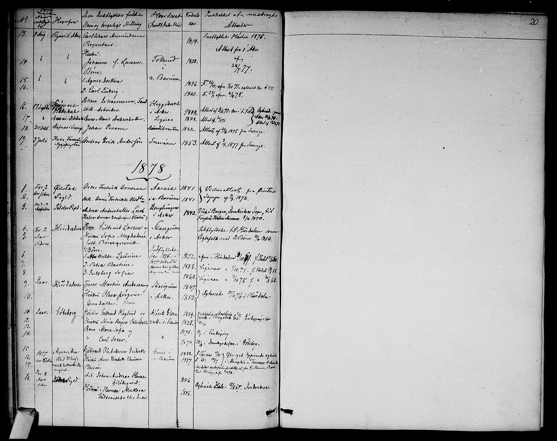 SAO, Asker prestekontor Kirkebøker, F/Fa/L0012: Ministerialbok nr. I 12, 1825-1878, s. 20
