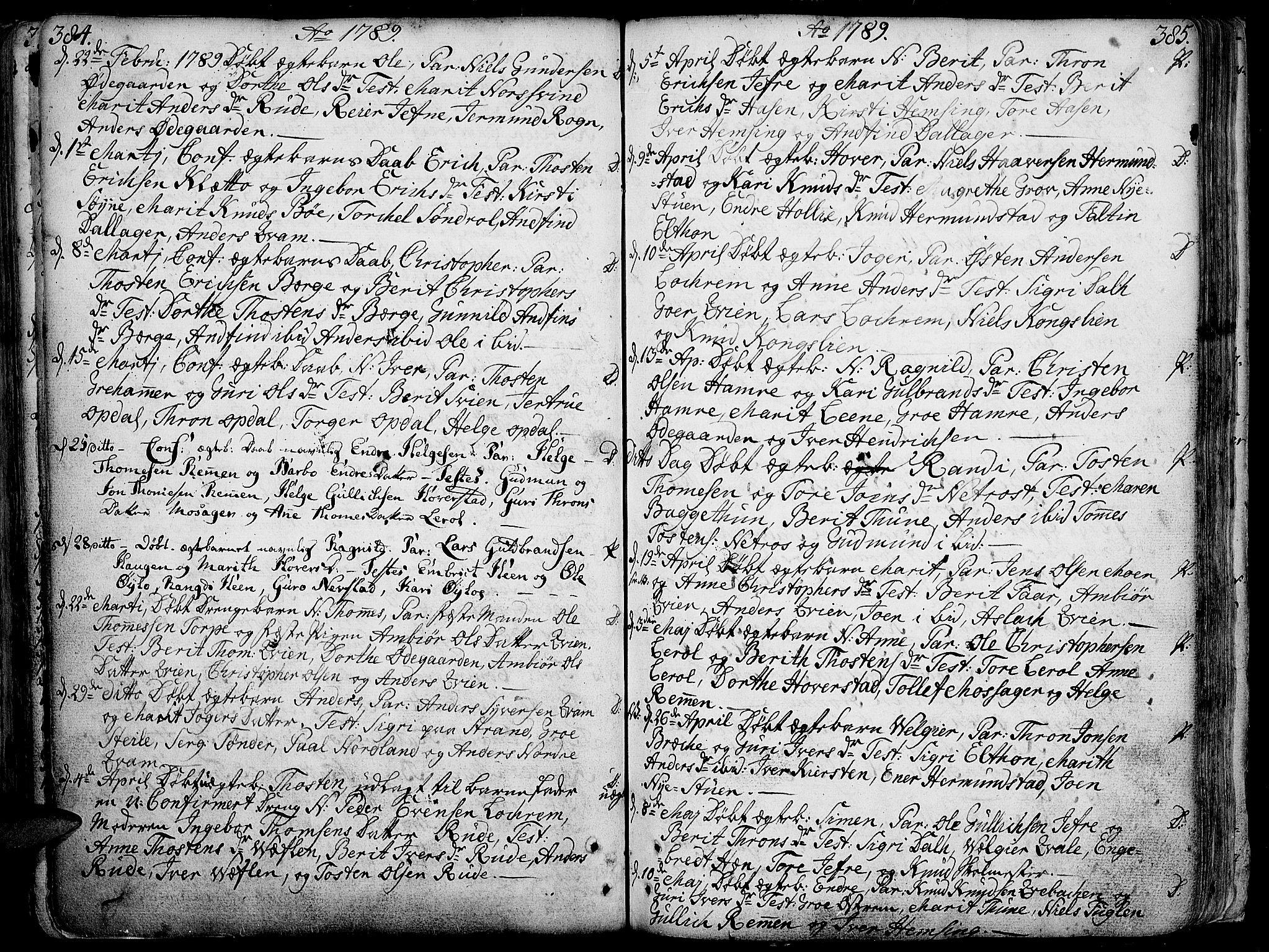 SAH, Vang prestekontor, Valdres, Ministerialbok nr. 1, 1730-1796, s. 384-385