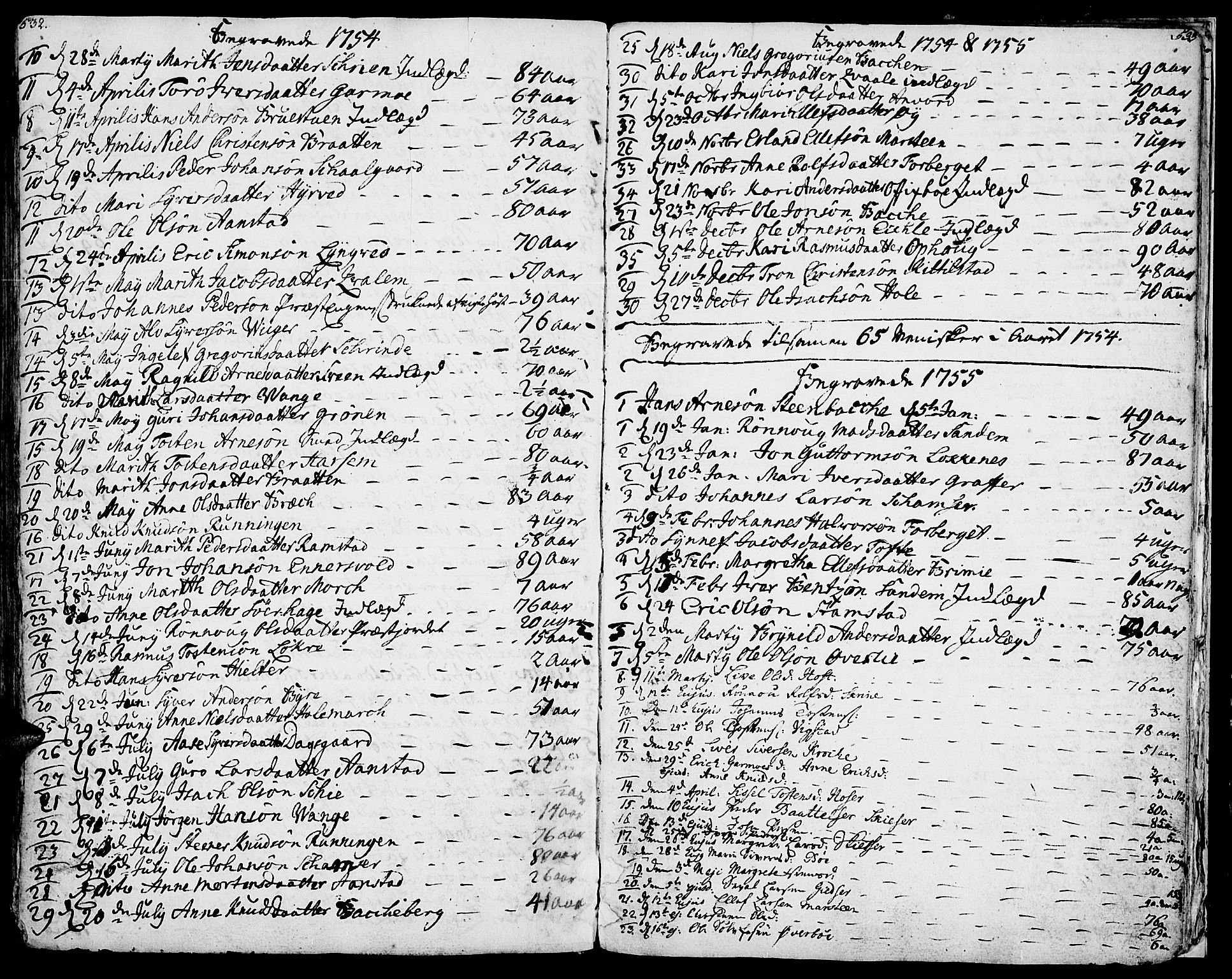SAH, Lom prestekontor, K/L0002: Ministerialbok nr. 2, 1749-1801, s. 532-533