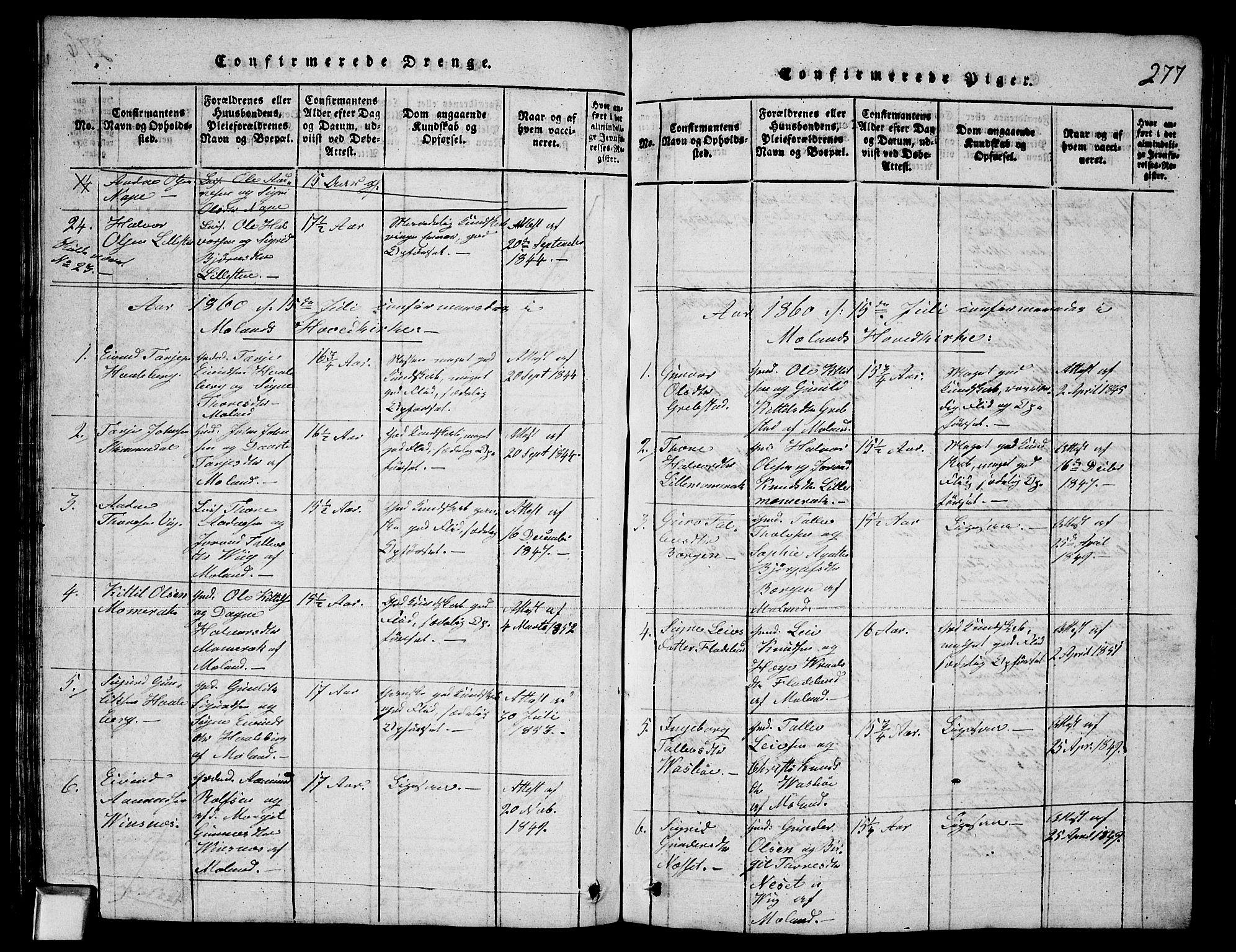 SAKO, Fyresdal kirkebøker, G/Ga/L0003: Klokkerbok nr. I 3, 1815-1863, s. 277