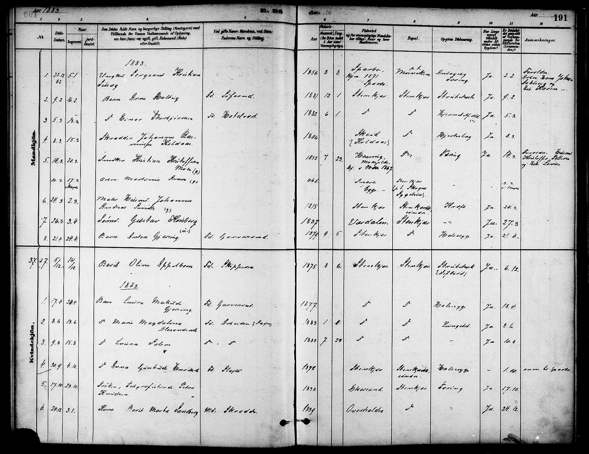 SAT, Ministerialprotokoller, klokkerbøker og fødselsregistre - Nord-Trøndelag, 739/L0371: Ministerialbok nr. 739A03, 1881-1895, s. 191