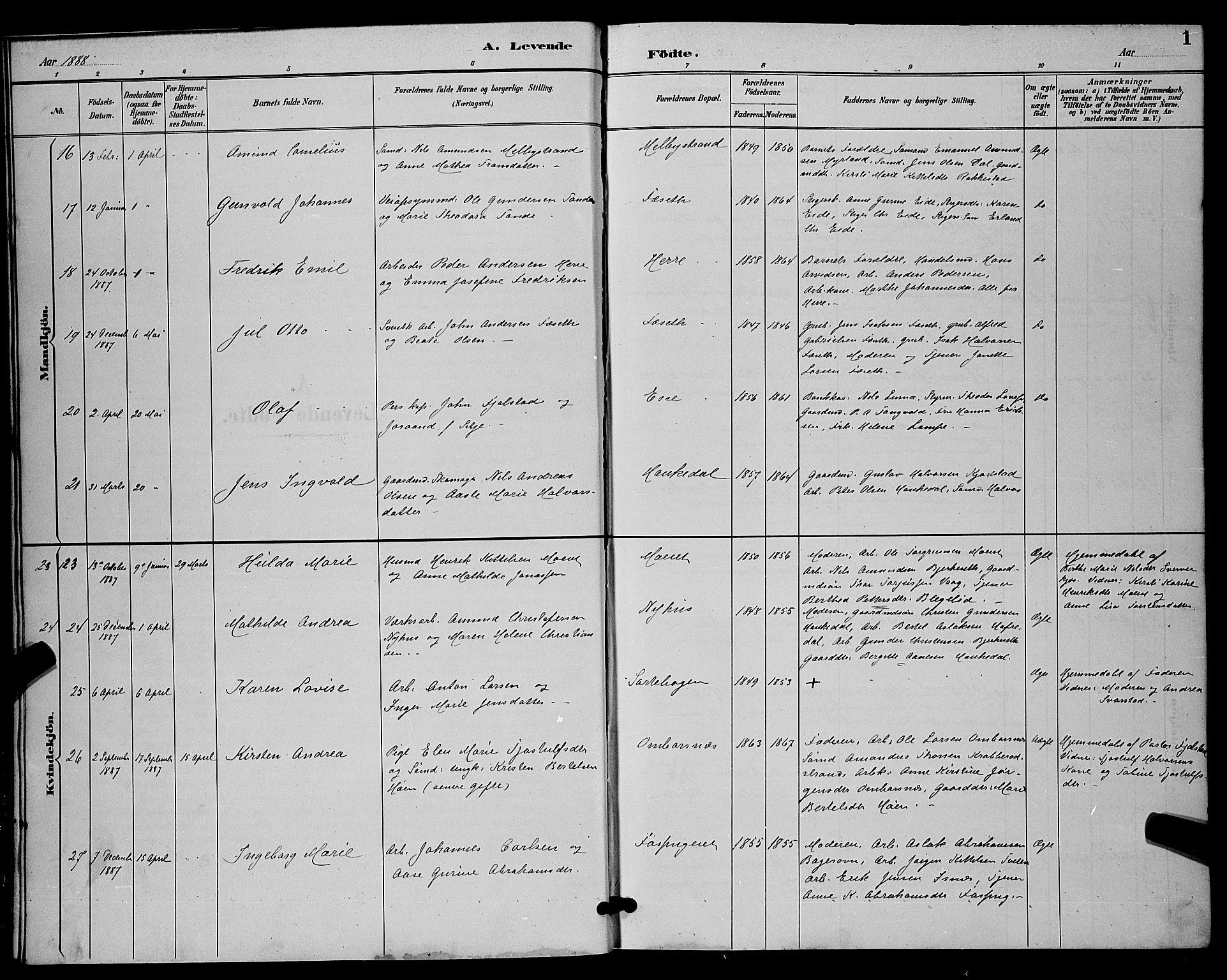 SAKO, Bamble kirkebøker, G/Ga/L0009: Klokkerbok nr. I 9, 1888-1900, s. 1
