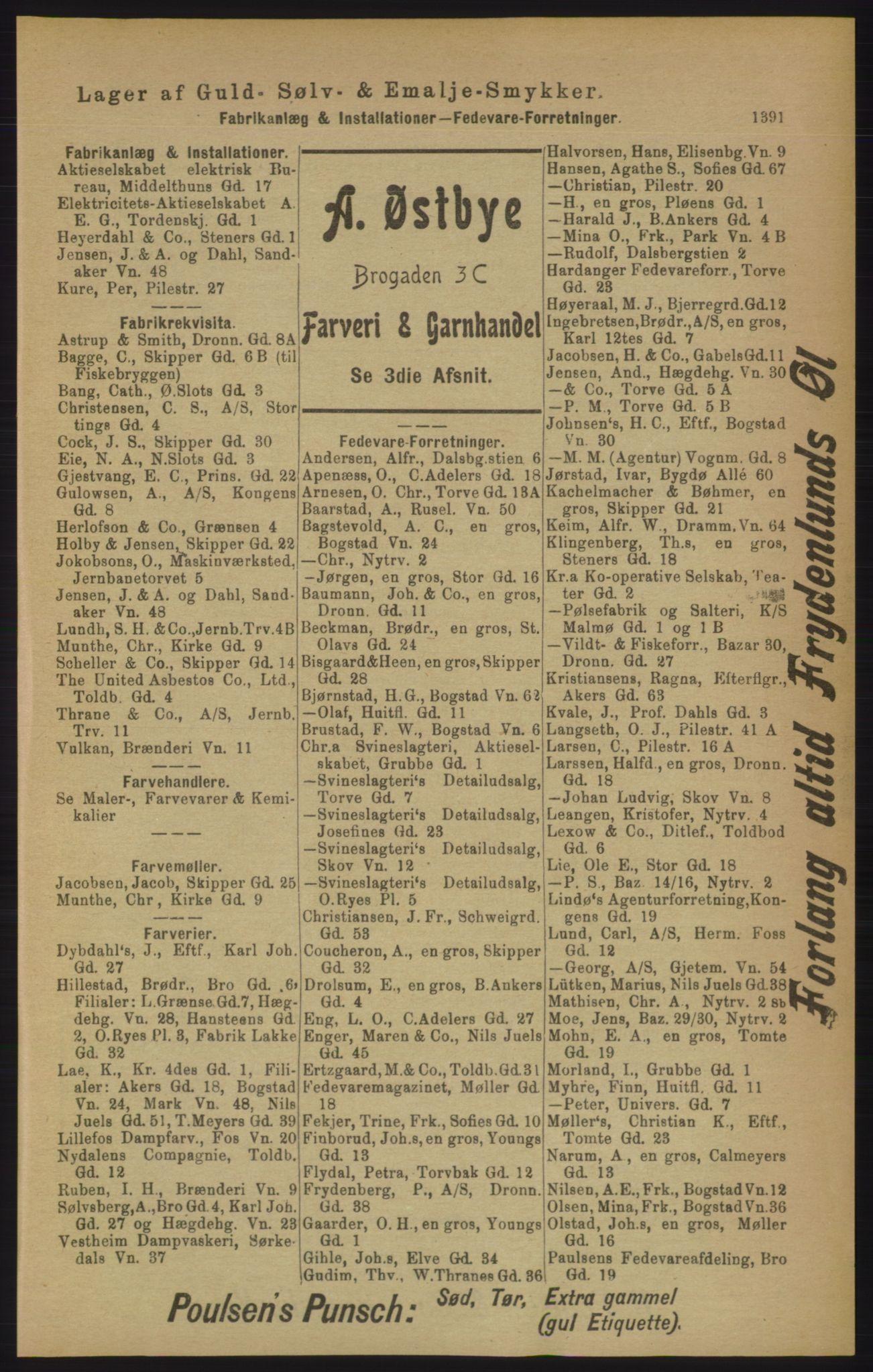 RA, Kristiania adressebok (publikasjon)*, 1906, s. 1391