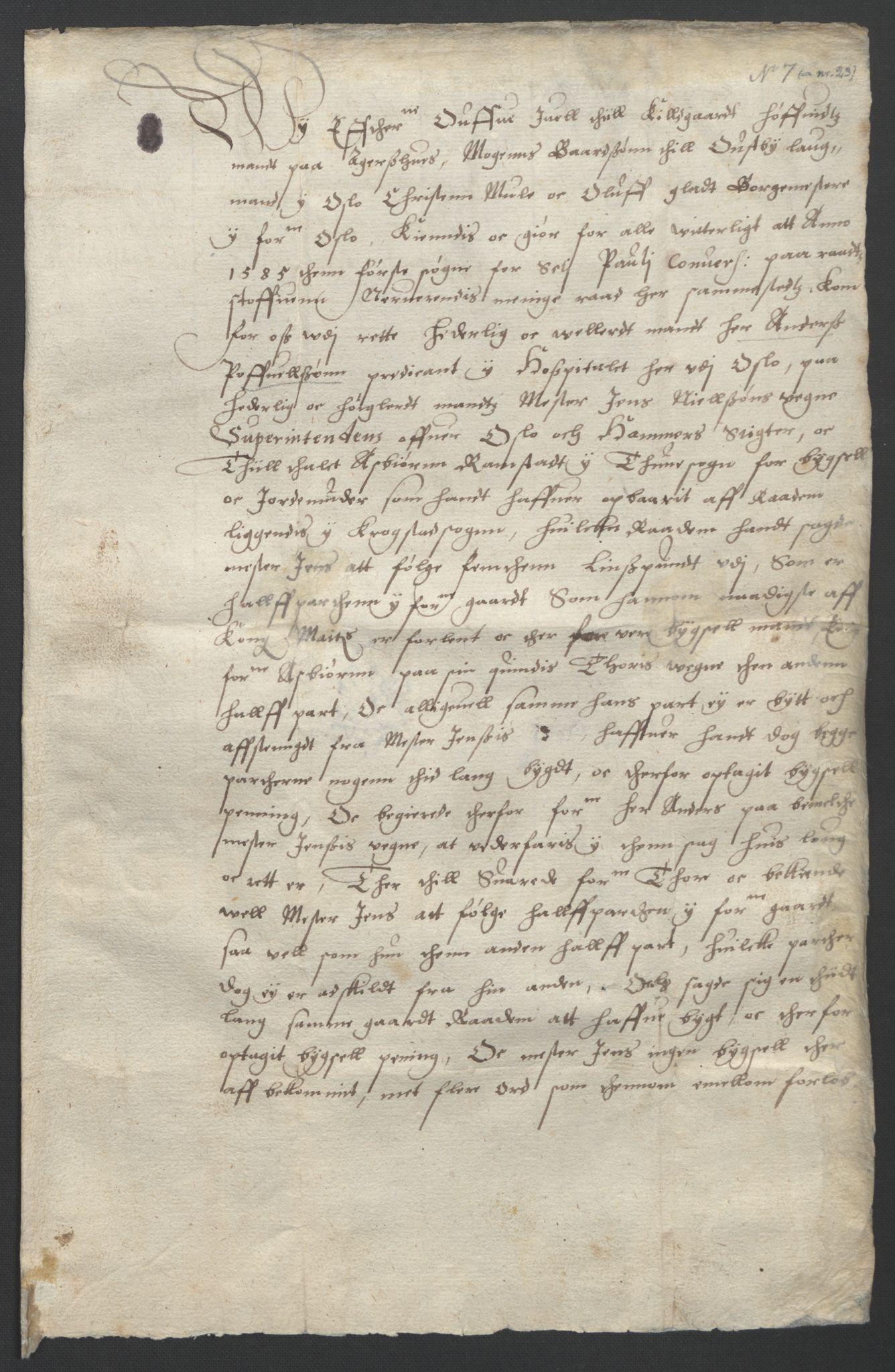 SAO, Oslo stiftsdireksjon, G/Gb/L0001: Bispestolens dokumenter, 1584-1612, s. 7