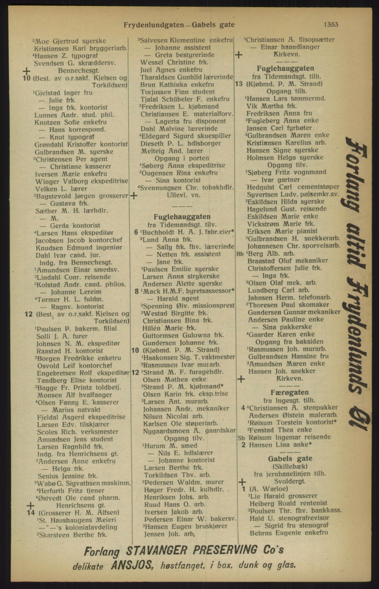 RA, Kristiania adressebok (publikasjon)*, 1915, s. 1353