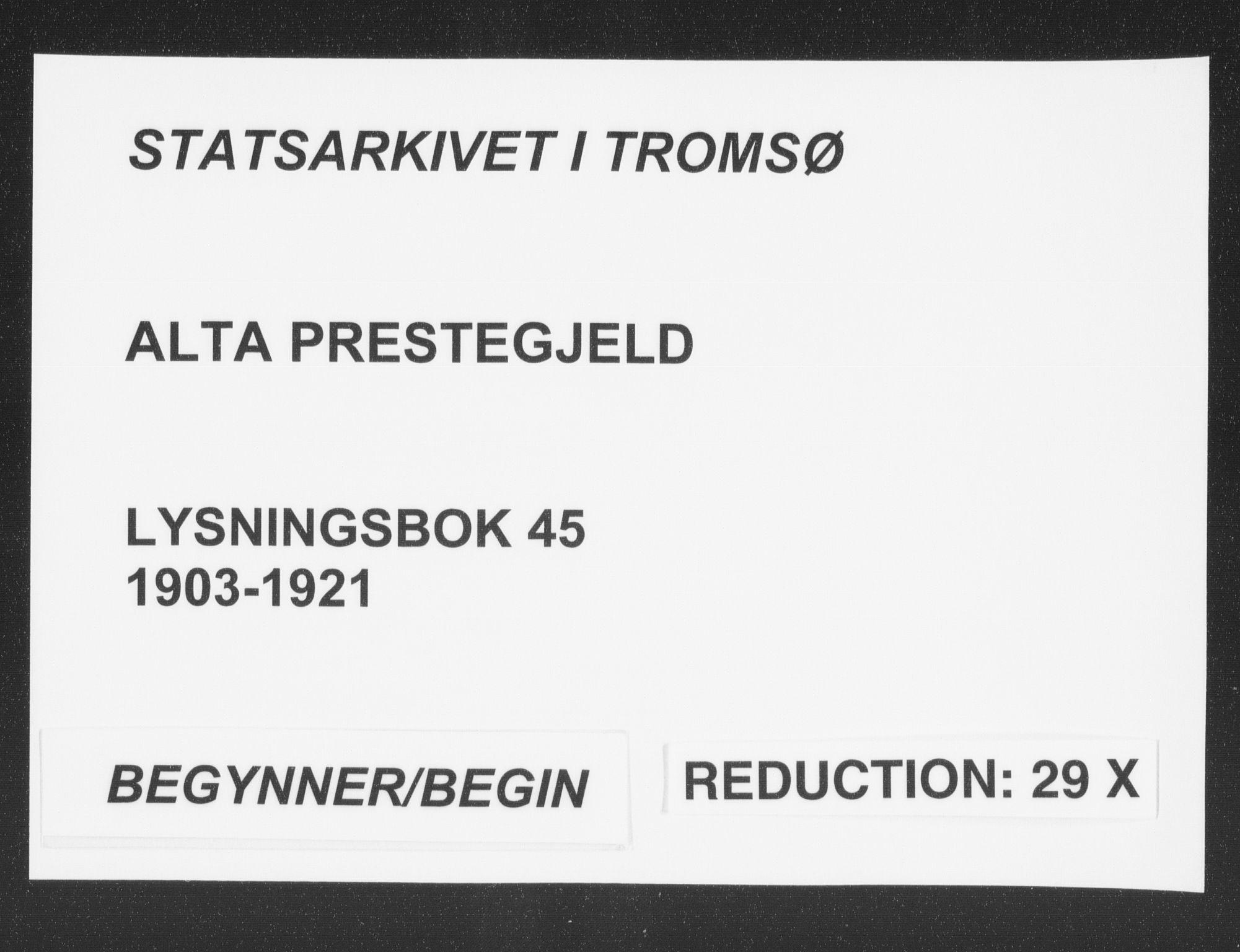 SATØ, Alta sokneprestkontor, I/Ib/L0045: Lysningsprotokoll nr. 45, 1903-1921