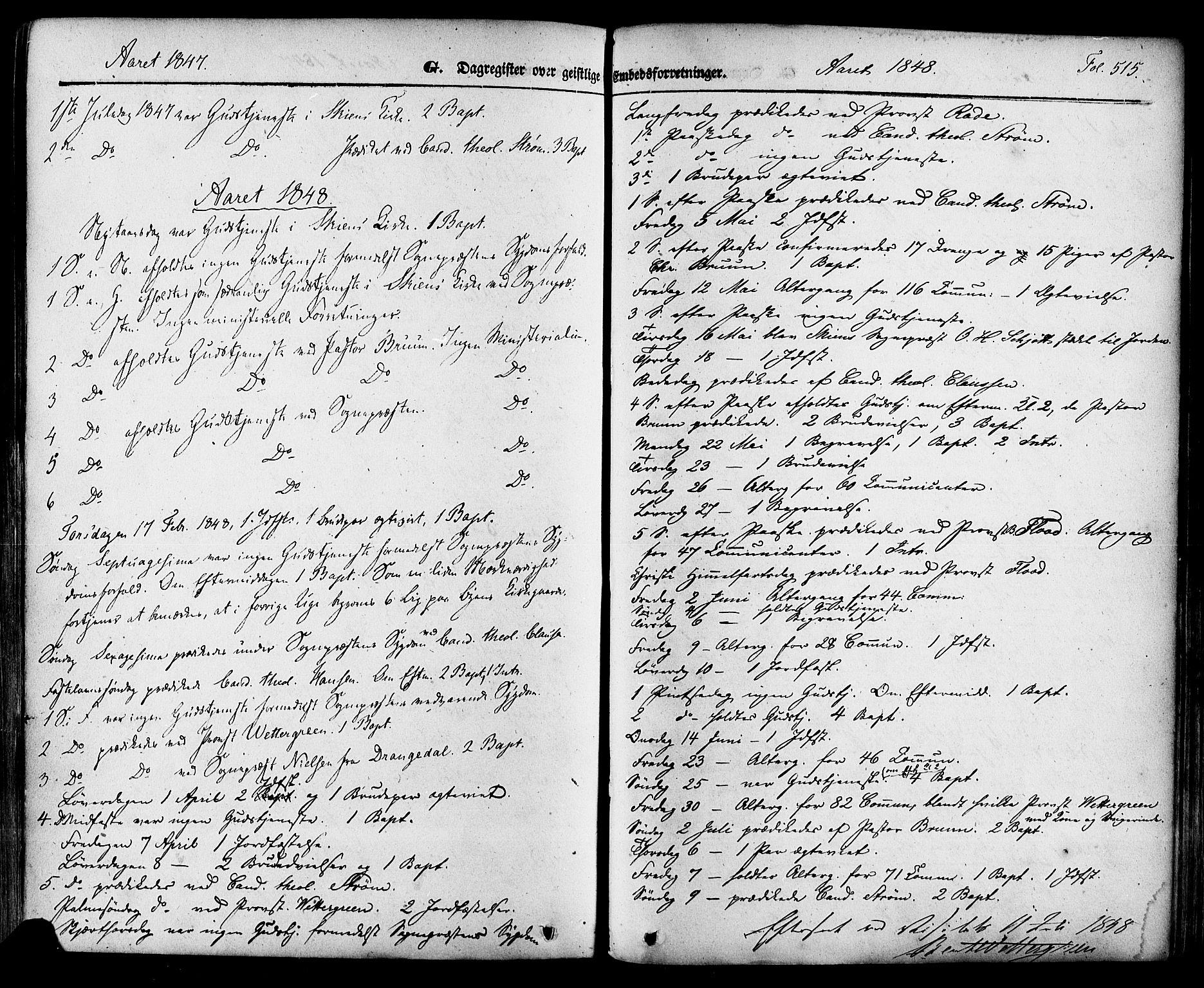 SAKO, Skien kirkebøker, F/Fa/L0006a: Ministerialbok nr. 6A, 1843-1856, s. 515
