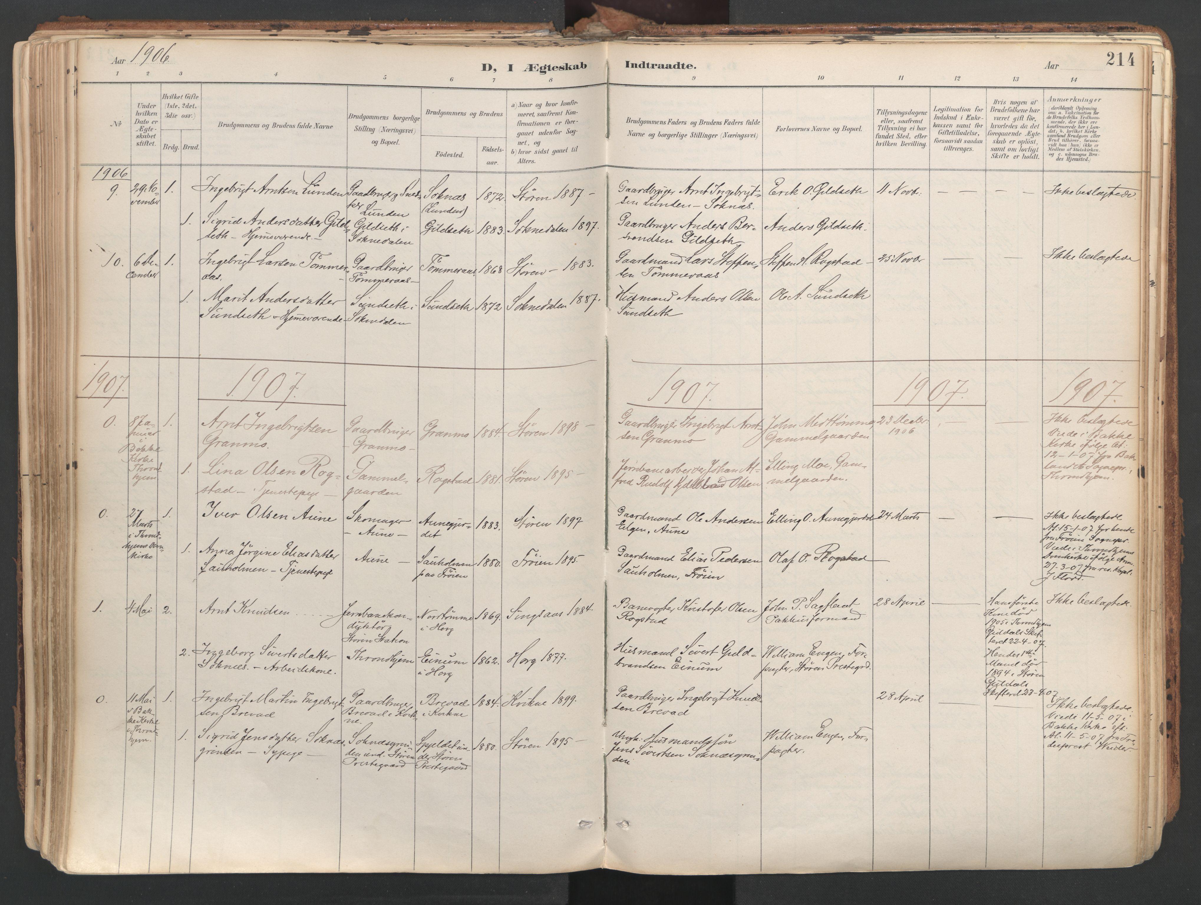SAT, Ministerialprotokoller, klokkerbøker og fødselsregistre - Sør-Trøndelag, 687/L1004: Ministerialbok nr. 687A10, 1891-1923, s. 214