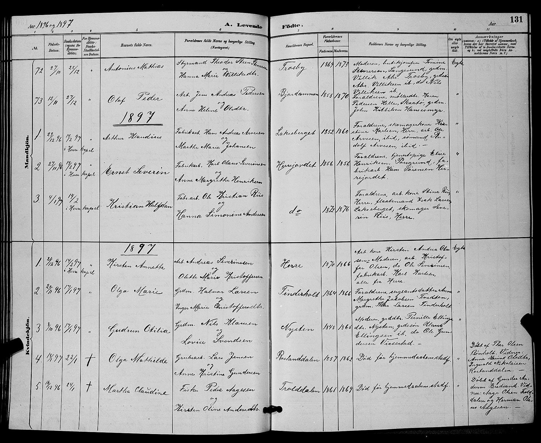 SAKO, Bamble kirkebøker, G/Ga/L0009: Klokkerbok nr. I 9, 1888-1900, s. 131