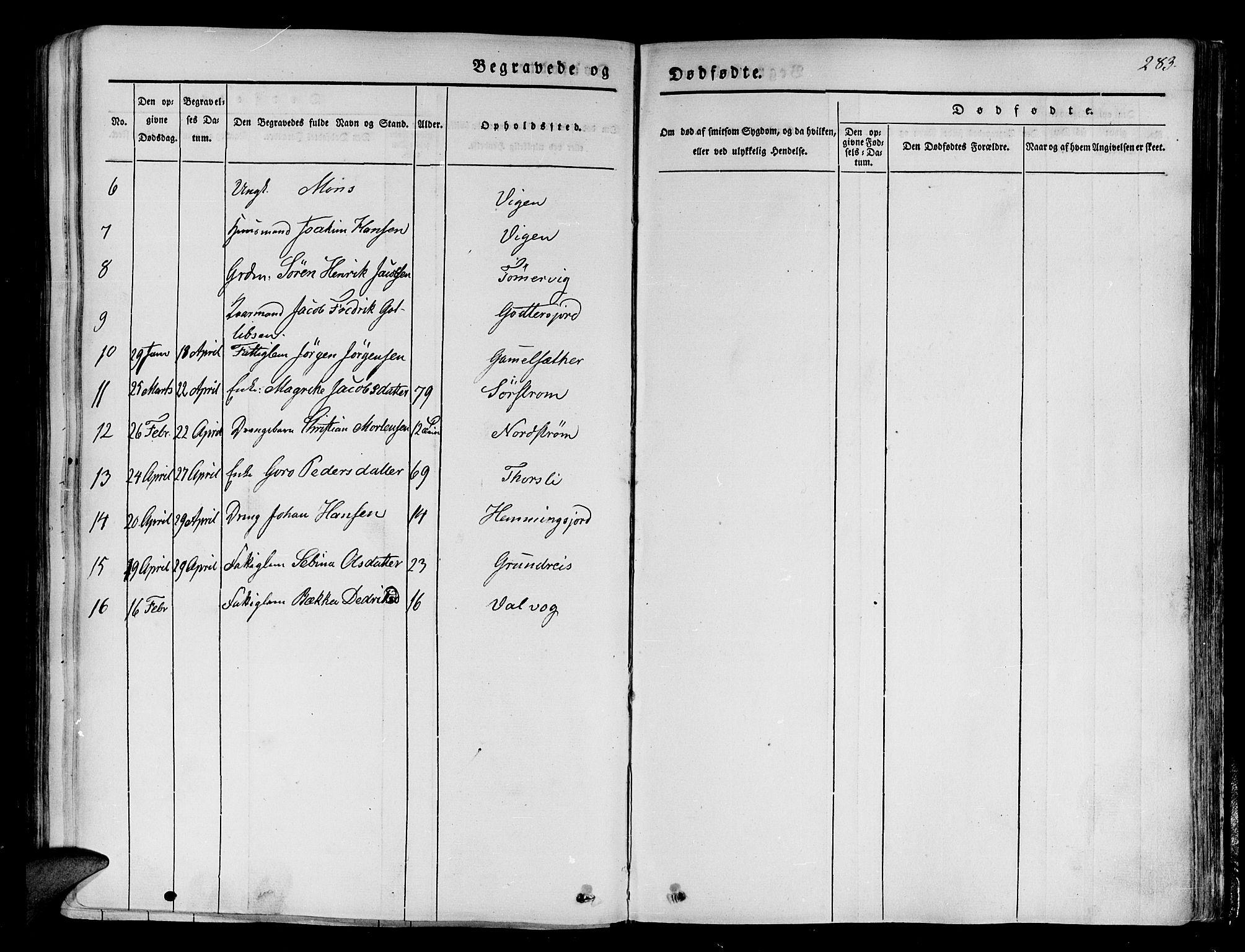 SATØ, Tranøy sokneprestkontor, I/Ia/Iaa/L0005kirke: Ministerialbok nr. 5, 1829-1844, s. 283
