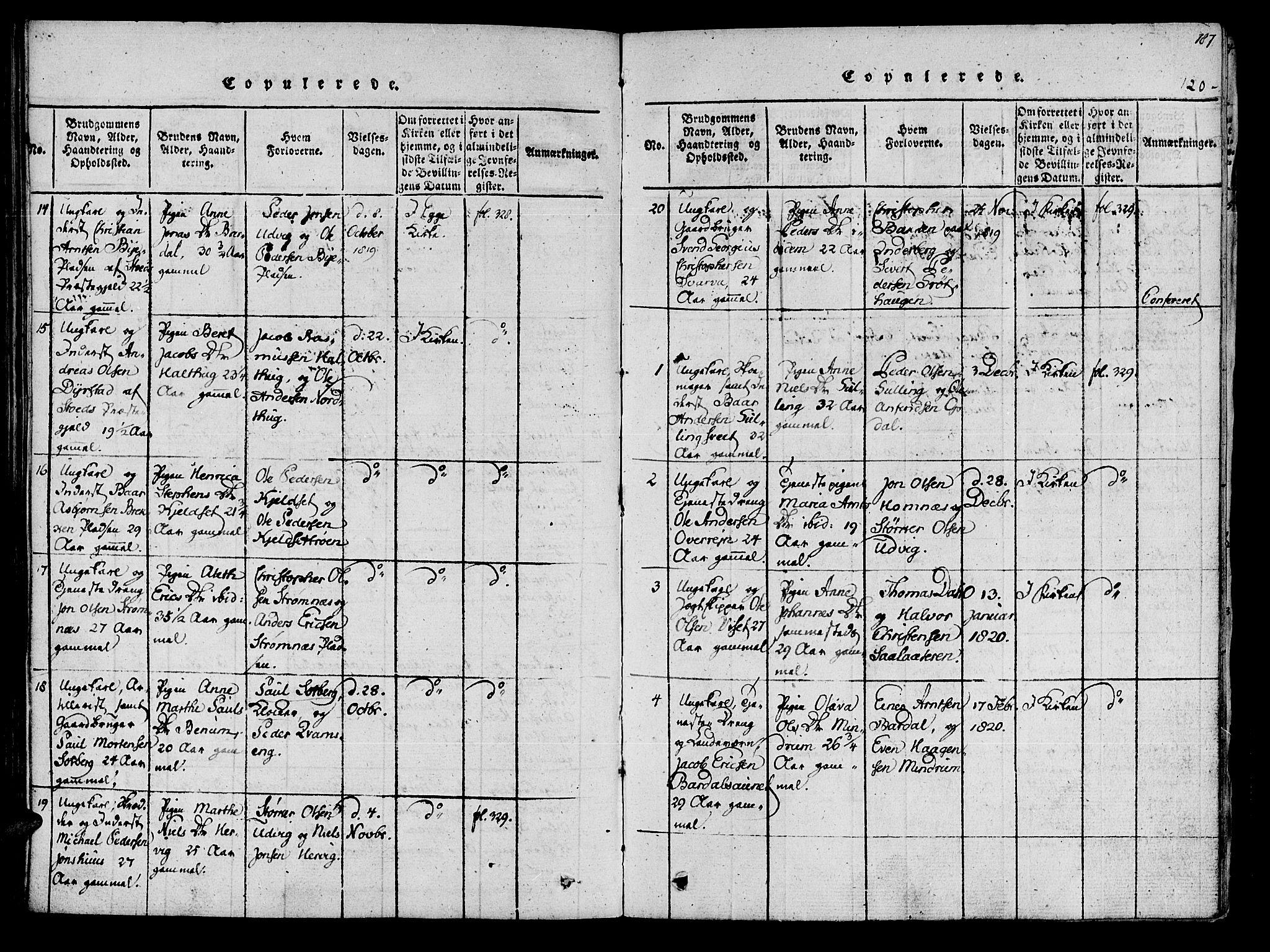 SAT, Ministerialprotokoller, klokkerbøker og fødselsregistre - Nord-Trøndelag, 741/L0387: Ministerialbok nr. 741A03 /1, 1817-1822, s. 120