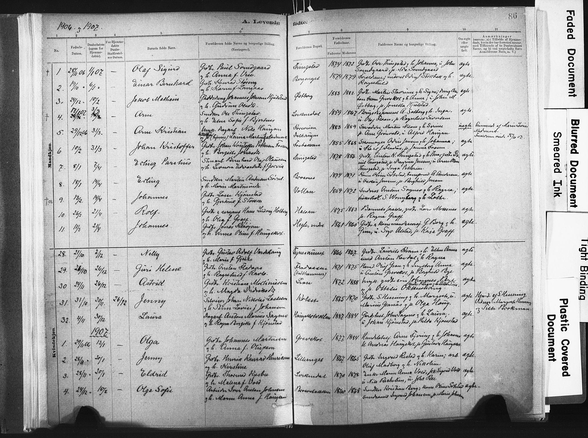 SAT, Ministerialprotokoller, klokkerbøker og fødselsregistre - Nord-Trøndelag, 721/L0207: Ministerialbok nr. 721A02, 1880-1911, s. 86
