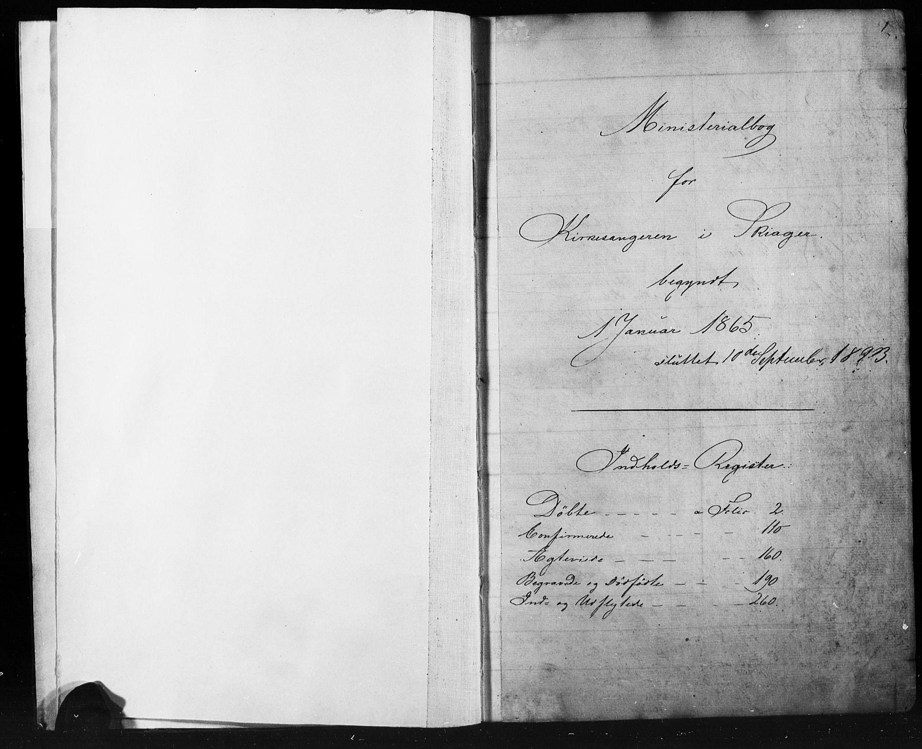 SAH, Skjåk prestekontor, Klokkerbok nr. 1, 1865-1893, s. 1