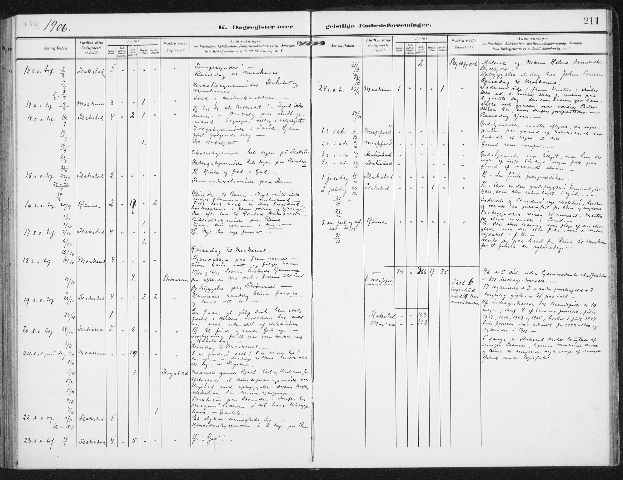 SAT, Ministerialprotokoller, klokkerbøker og fødselsregistre - Nordland, 885/L1206: Ministerialbok nr. 885A07, 1905-1915, s. 211