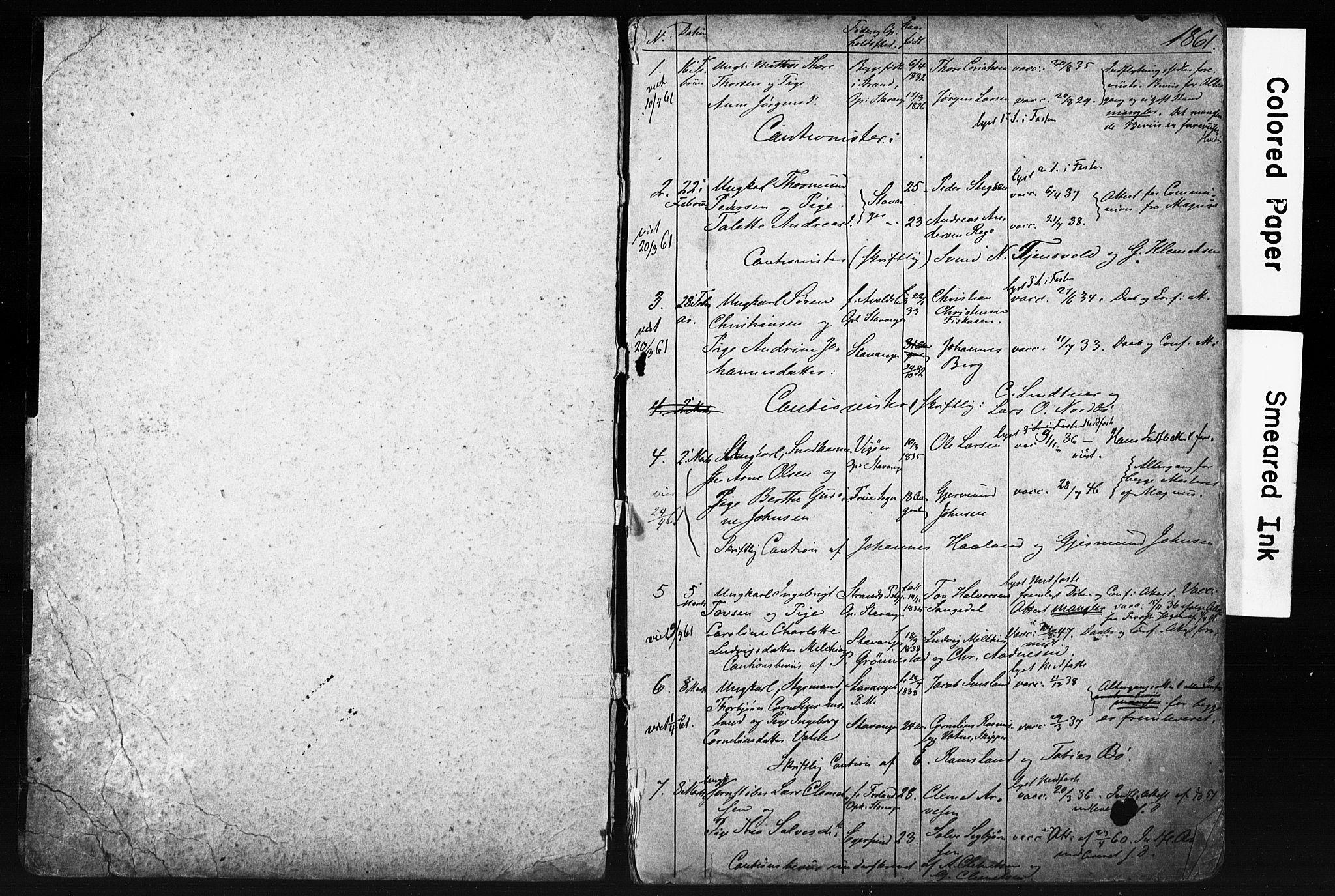 SAST, St. Petri sokneprestkontor, 70/705BA/L0001: Lysningsprotokoll nr. 1, 1861-1866