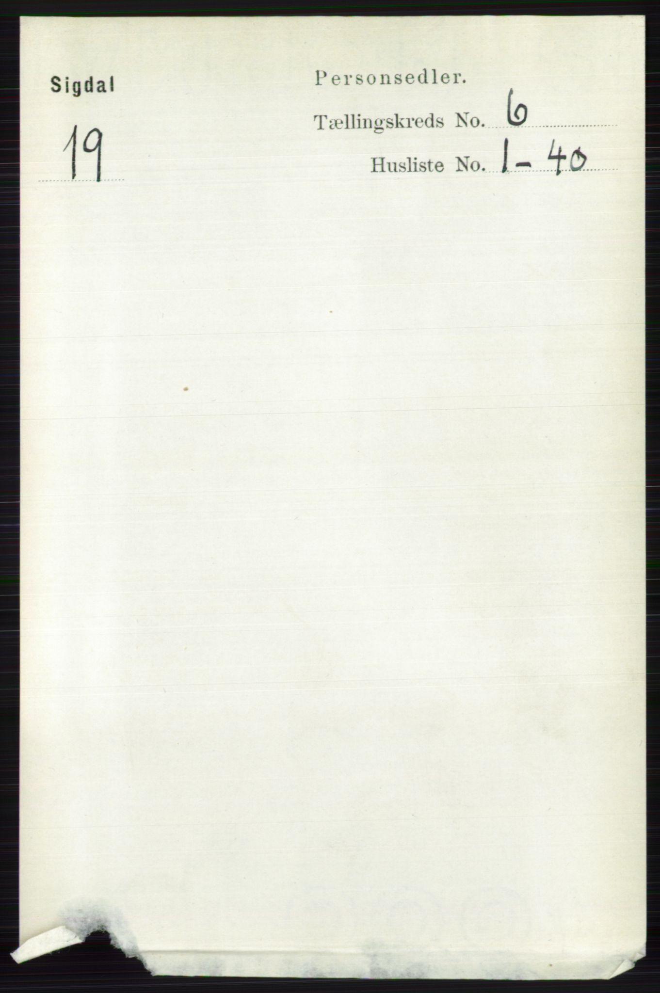 RA, Folketelling 1891 for 0621 Sigdal herred, 1891, s. 2422