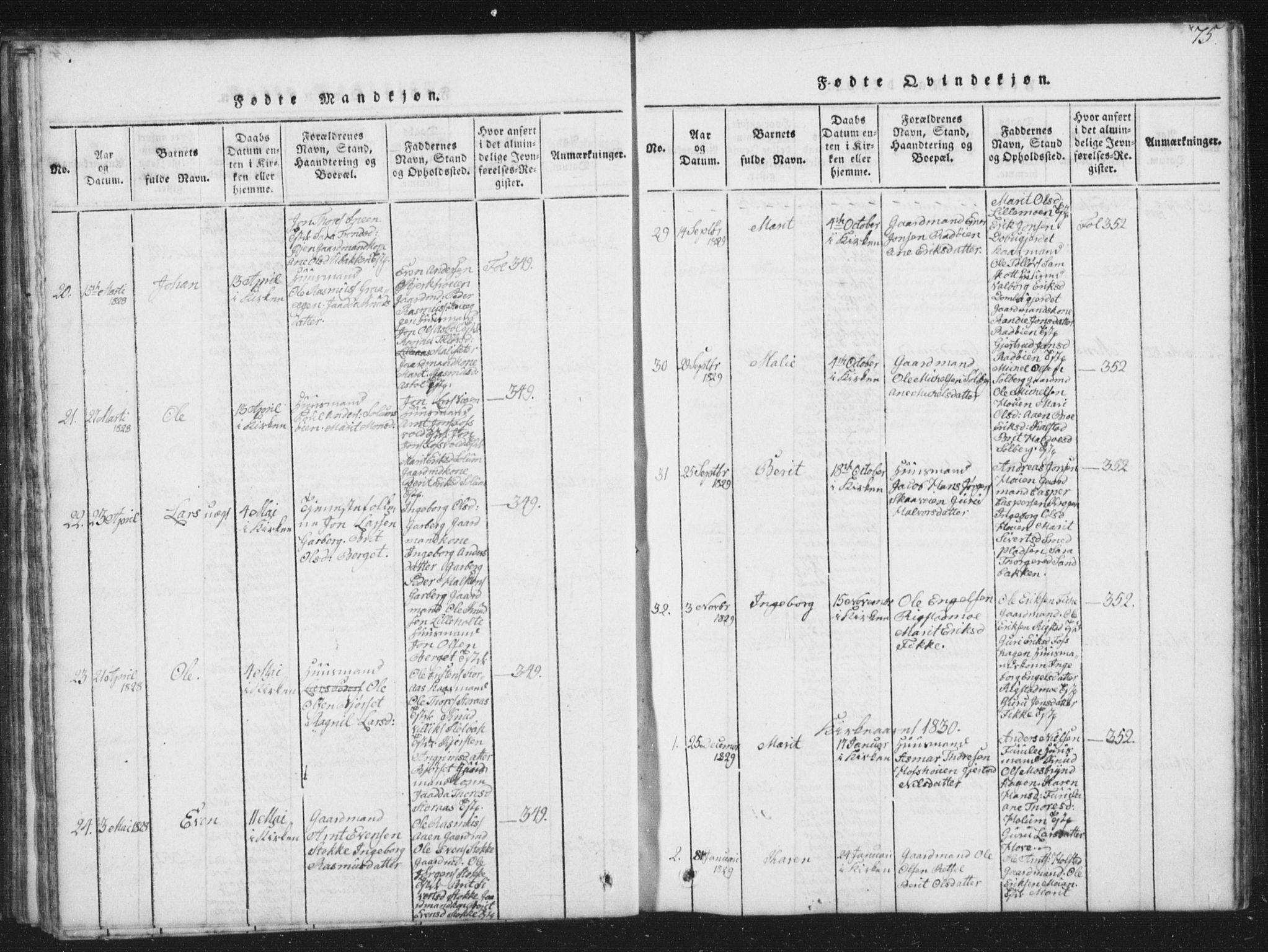 SAT, Ministerialprotokoller, klokkerbøker og fødselsregistre - Sør-Trøndelag, 672/L0862: Klokkerbok nr. 672C01, 1816-1831, s. 75