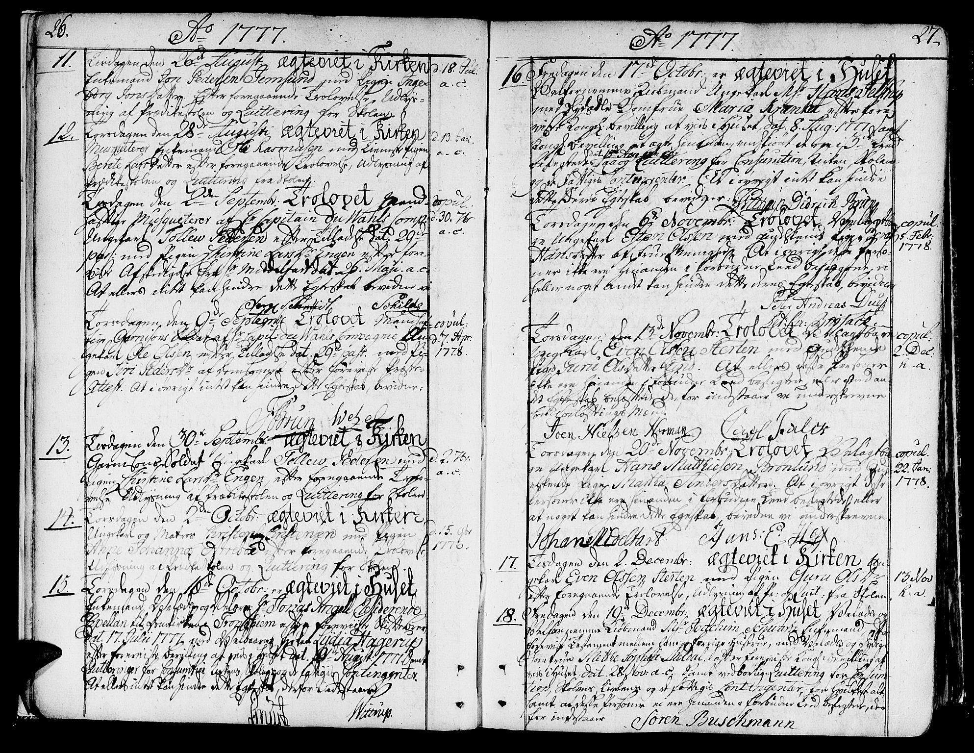 SAT, Ministerialprotokoller, klokkerbøker og fødselsregistre - Sør-Trøndelag, 602/L0105: Ministerialbok nr. 602A03, 1774-1814, s. 26-27