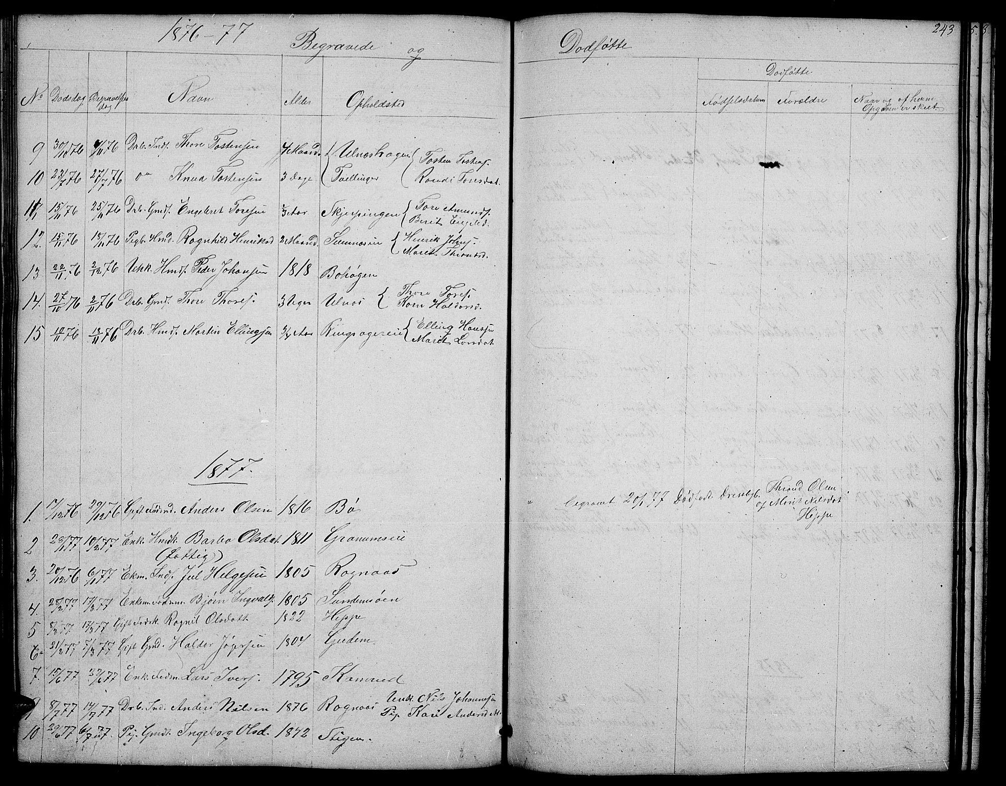 SAH, Nord-Aurdal prestekontor, Klokkerbok nr. 4, 1842-1882, s. 243