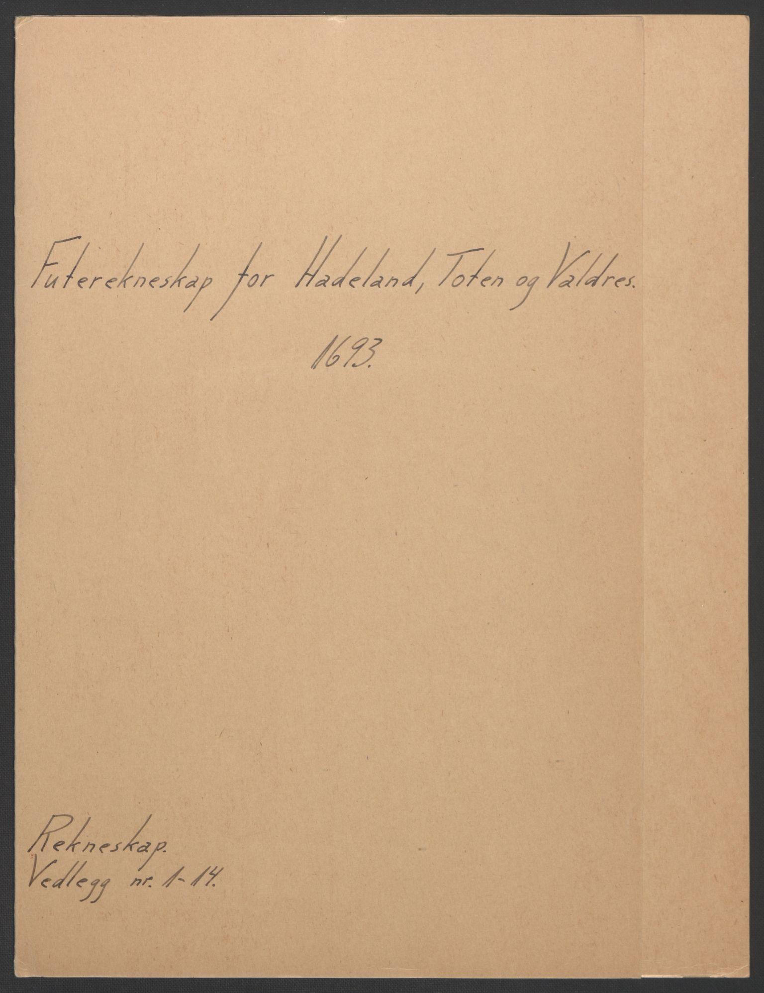 RA, Rentekammeret inntil 1814, Reviderte regnskaper, Fogderegnskap, R18/L1292: Fogderegnskap Hadeland, Toten og Valdres, 1693-1694, s. 2