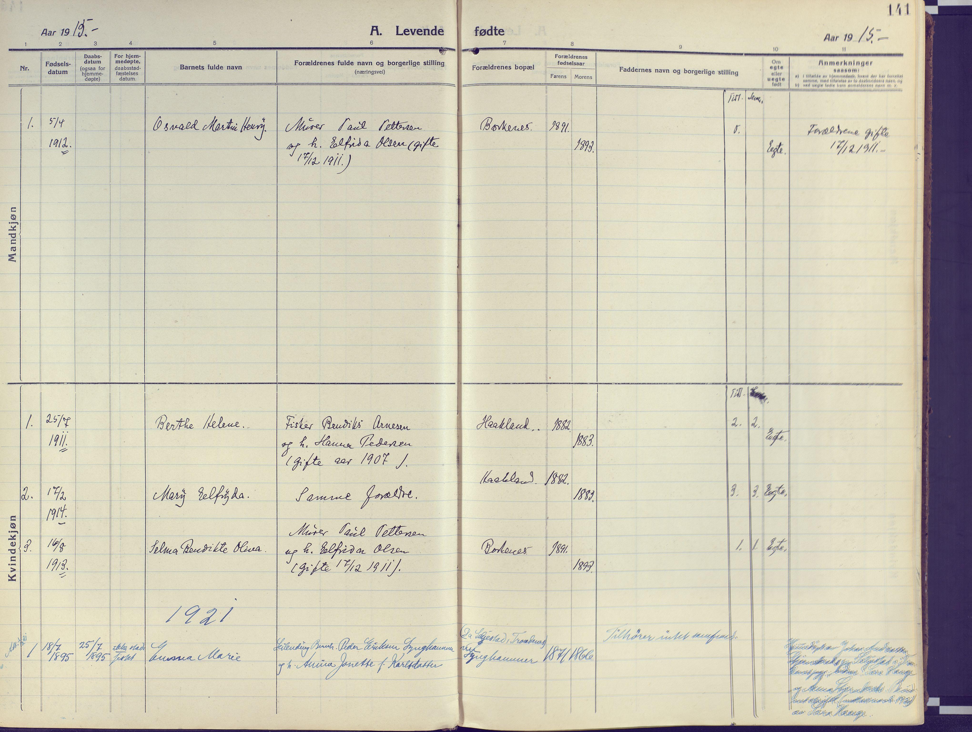 SATØ, Kvæfjord sokneprestkontor, G/Ga/Gaa/L0007kirke: Ministerialbok nr. 7, 1915-1931, s. 141