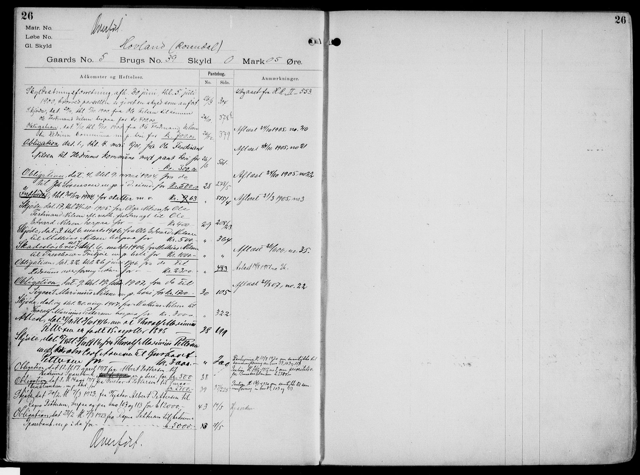 SAKO, Larvik sorenskriveri, G/Gb/Gbg/L0003a: Panteregister nr. VI 3, s. 26