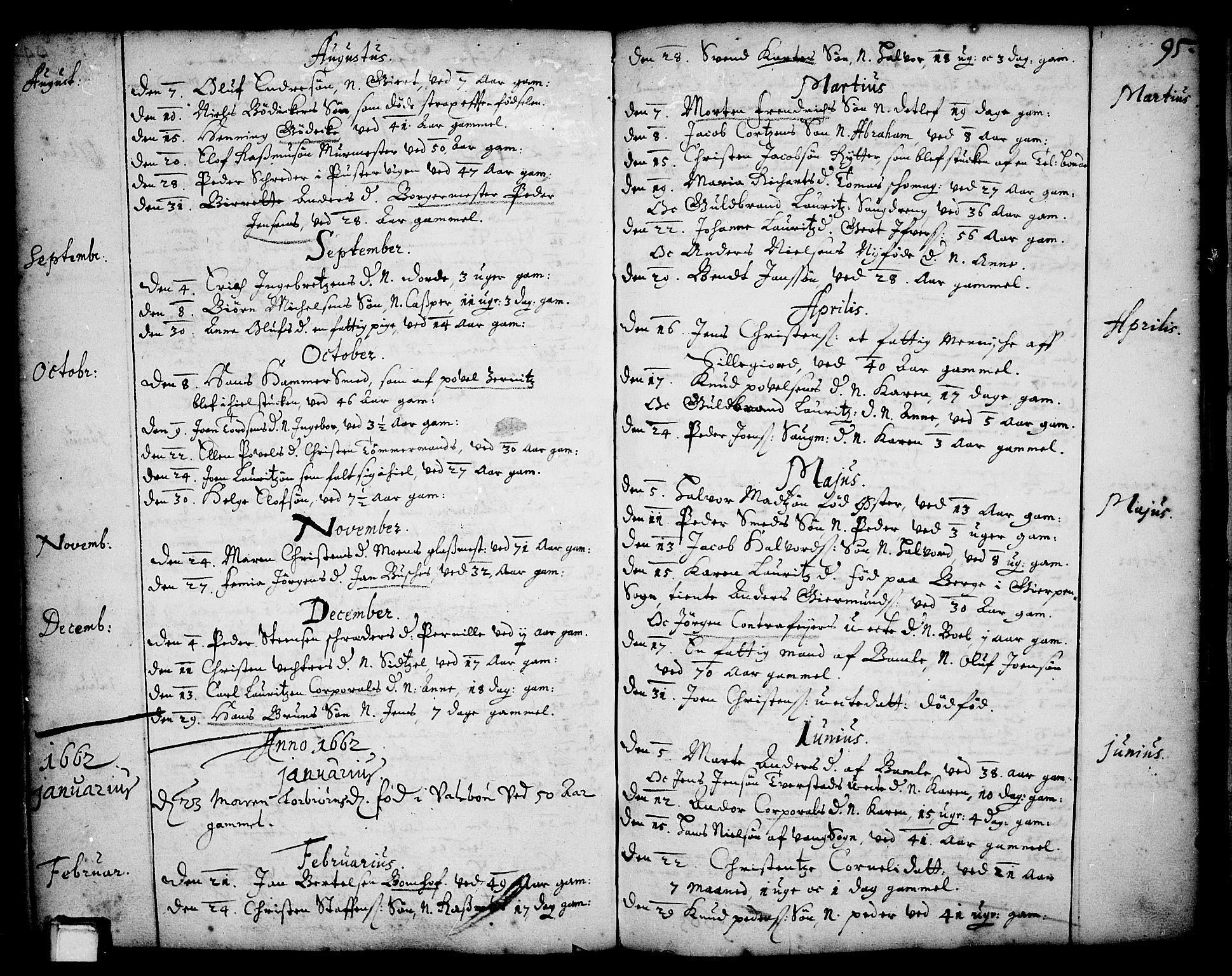 SAKO, Skien kirkebøker, F/Fa/L0001: Ministerialbok nr. 1, 1659-1679, s. 95