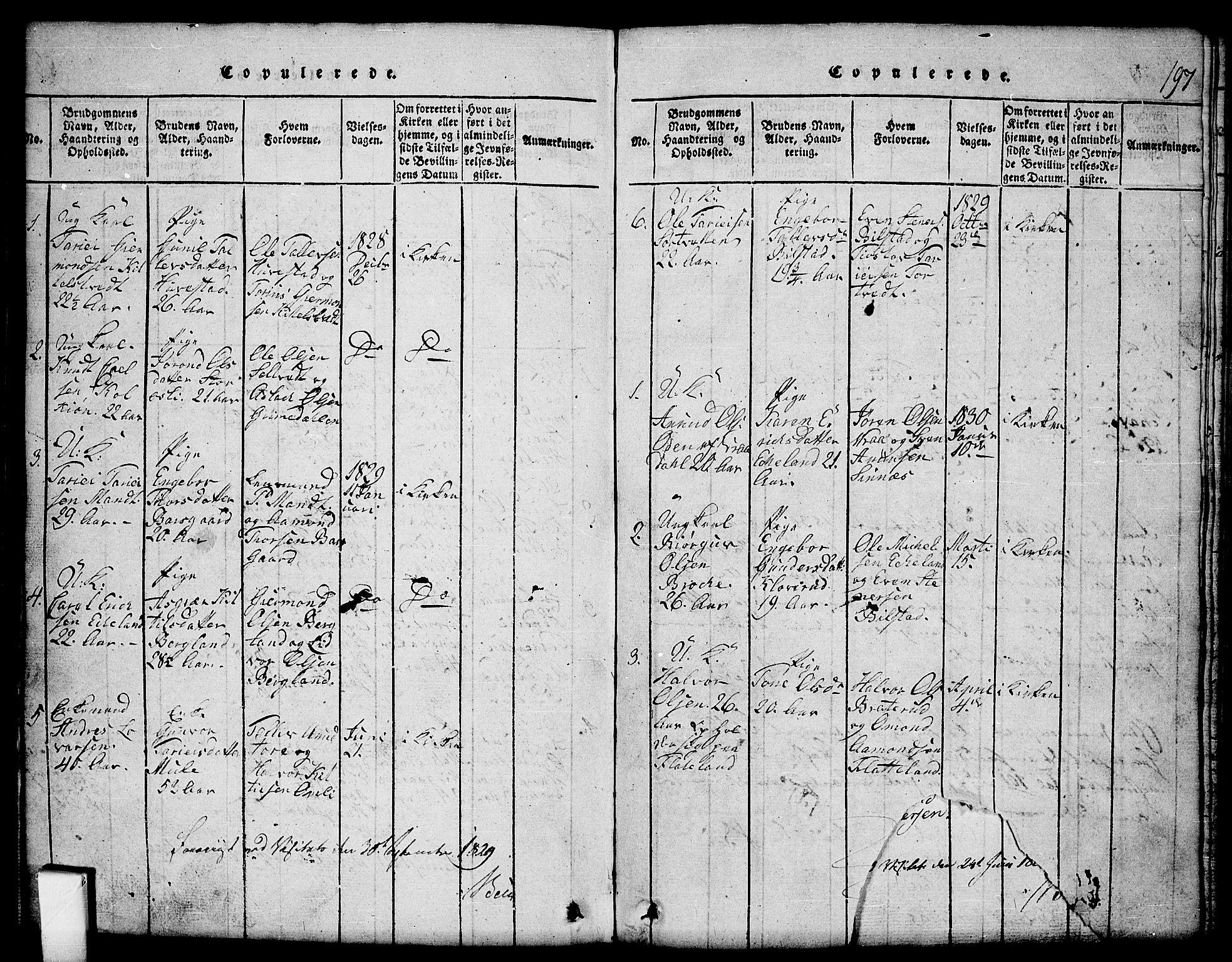 SAKO, Mo kirkebøker, G/Gb/L0001: Klokkerbok nr. II 1, 1814-1843, s. 197