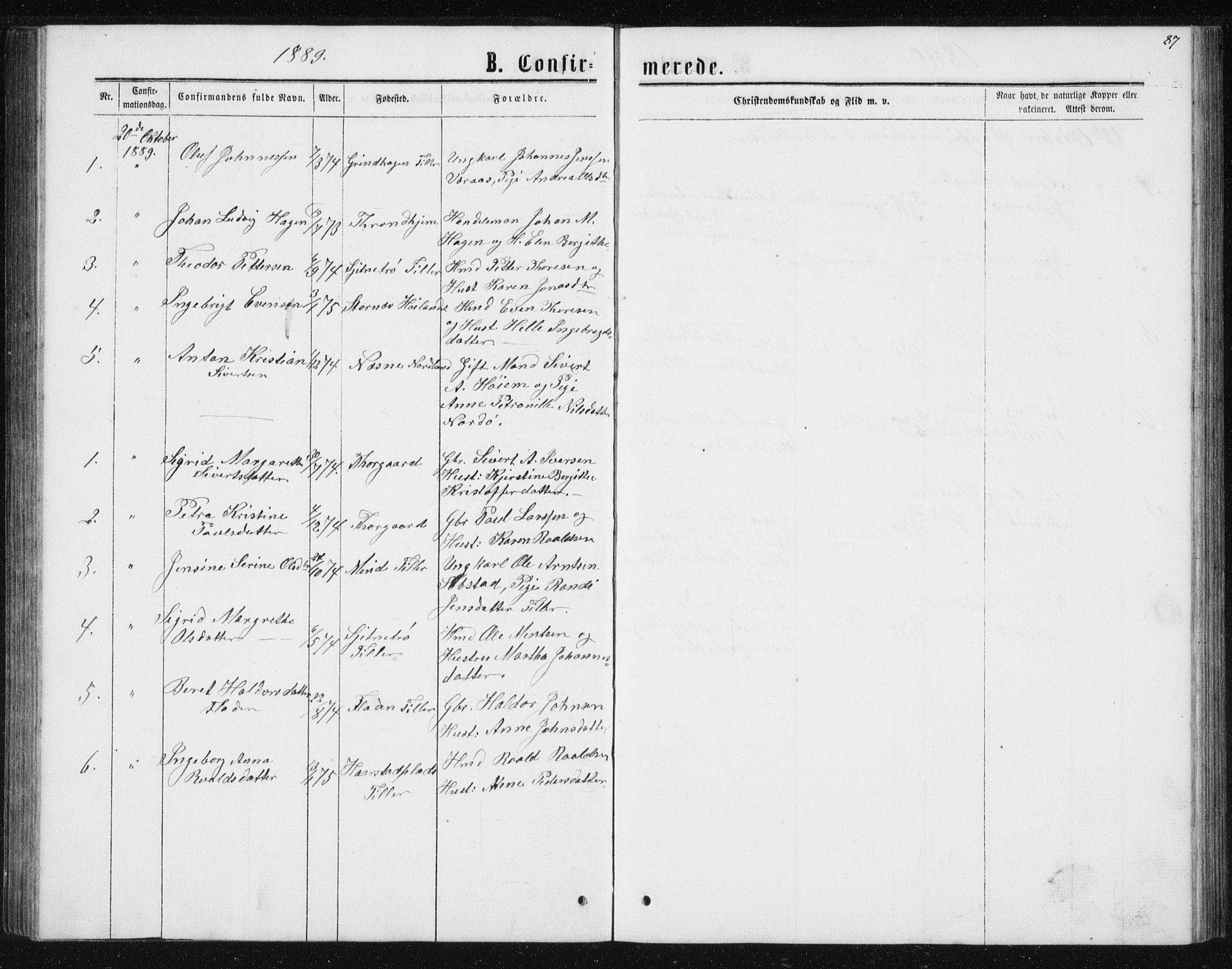 SAT, Ministerialprotokoller, klokkerbøker og fødselsregistre - Sør-Trøndelag, 621/L0459: Klokkerbok nr. 621C02, 1866-1895, s. 87