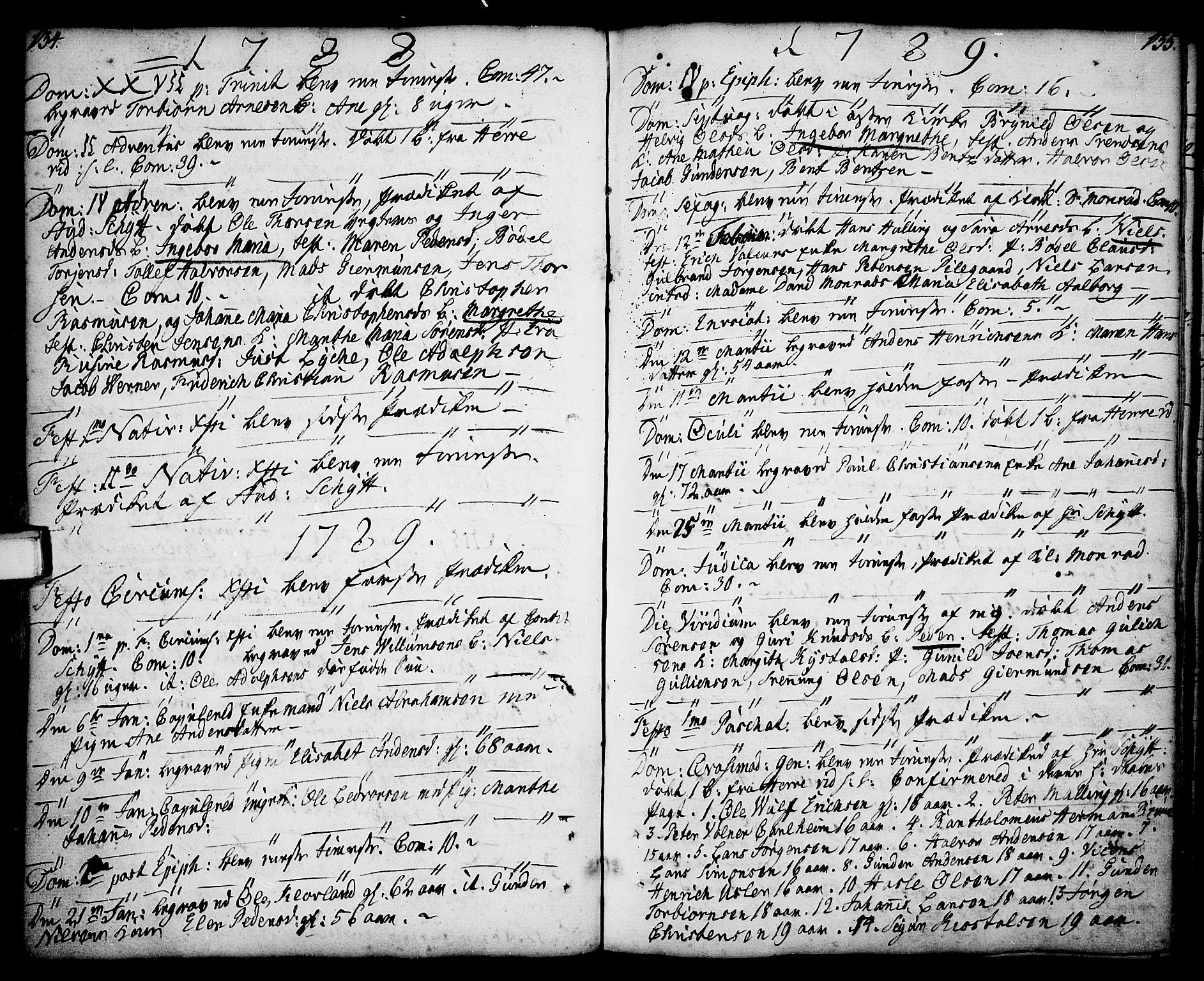 SAKO, Porsgrunn kirkebøker , F/Fa/L0001: Ministerialbok nr. 1, 1764-1814, s. 134-135