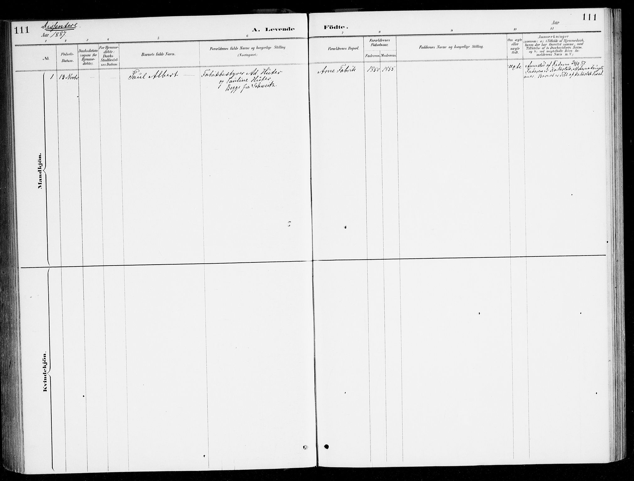 SAB, Haus sokneprestembete, H/Haa: Ministerialbok nr. D 1, 1887-1898, s. 111