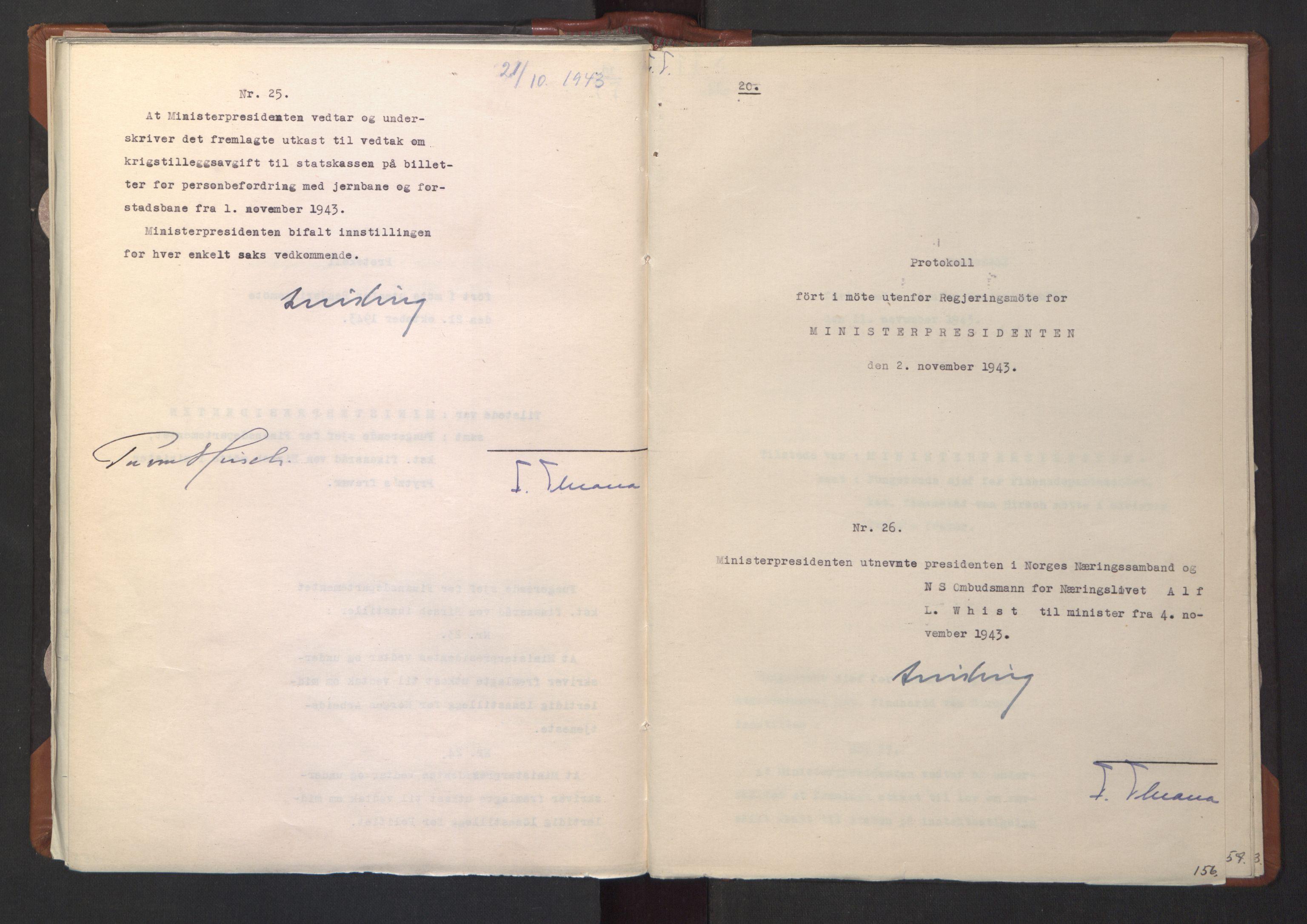 RA, NS-administrasjonen 1940-1945 (Statsrådsekretariatet, de kommisariske statsråder mm), D/Da/L0003: Vedtak (Beslutninger) nr. 1-746 og tillegg nr. 1-47 (RA. j.nr. 1394/1944, tilgangsnr. 8/1944, 1943, s. 155b-156a