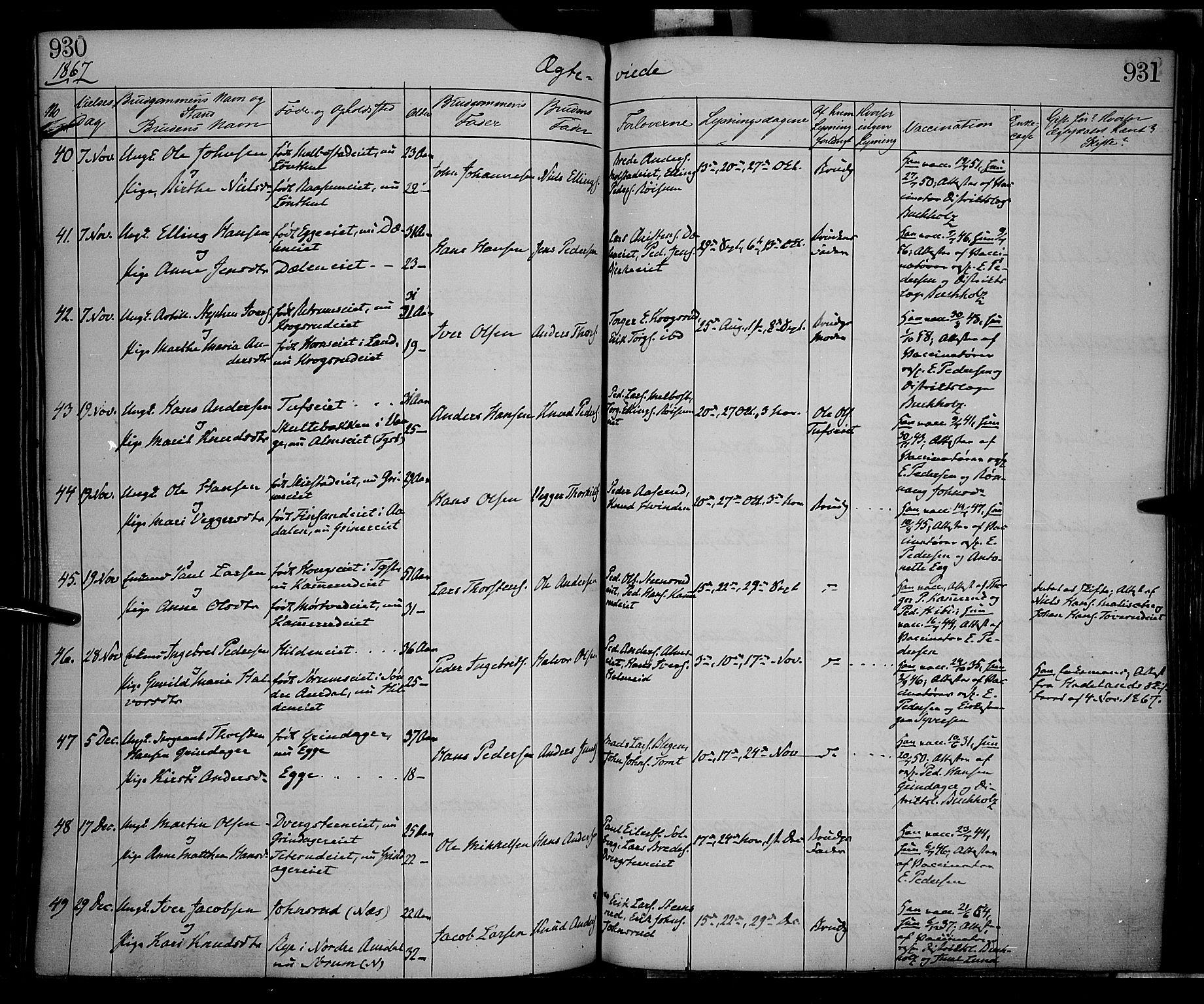 SAH, Gran prestekontor, Ministerialbok nr. 12, 1856-1874, s. 930-931