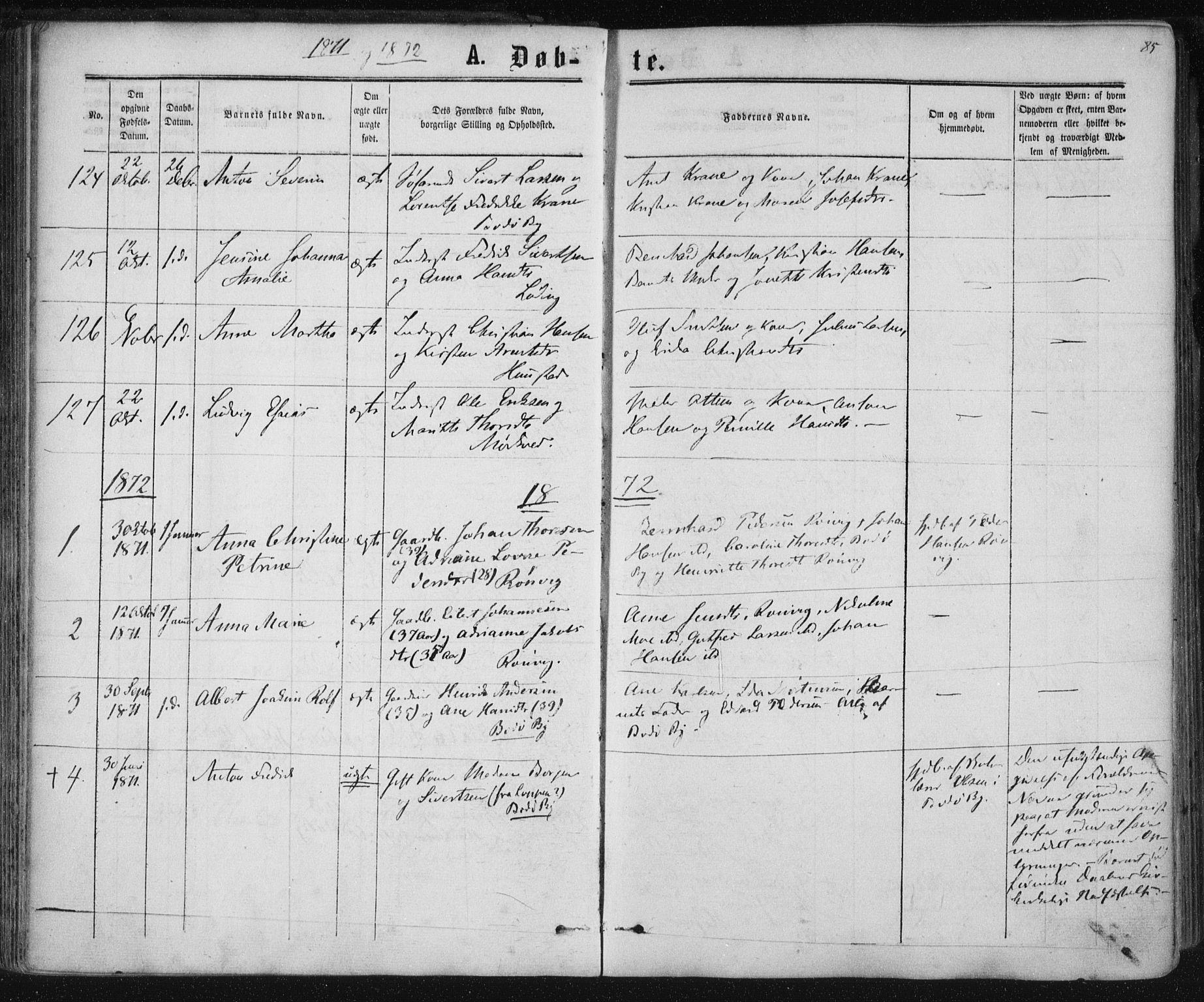 SAT, Ministerialprotokoller, klokkerbøker og fødselsregistre - Nordland, 801/L0008: Ministerialbok nr. 801A08, 1864-1875, s. 85