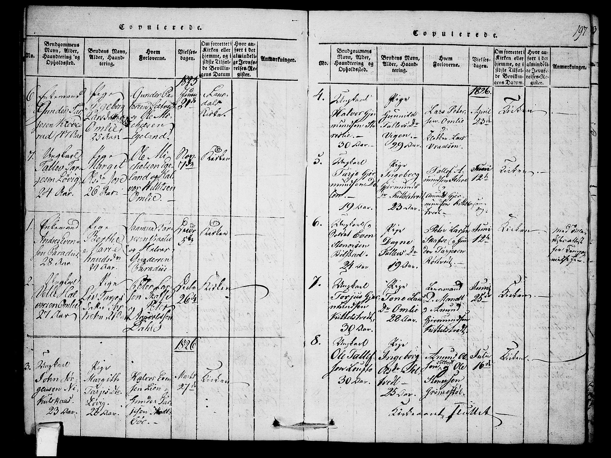 SAKO, Mo kirkebøker, F/Fb/L0001: Ministerialbok nr. II 1, 1814-1844, s. 197
