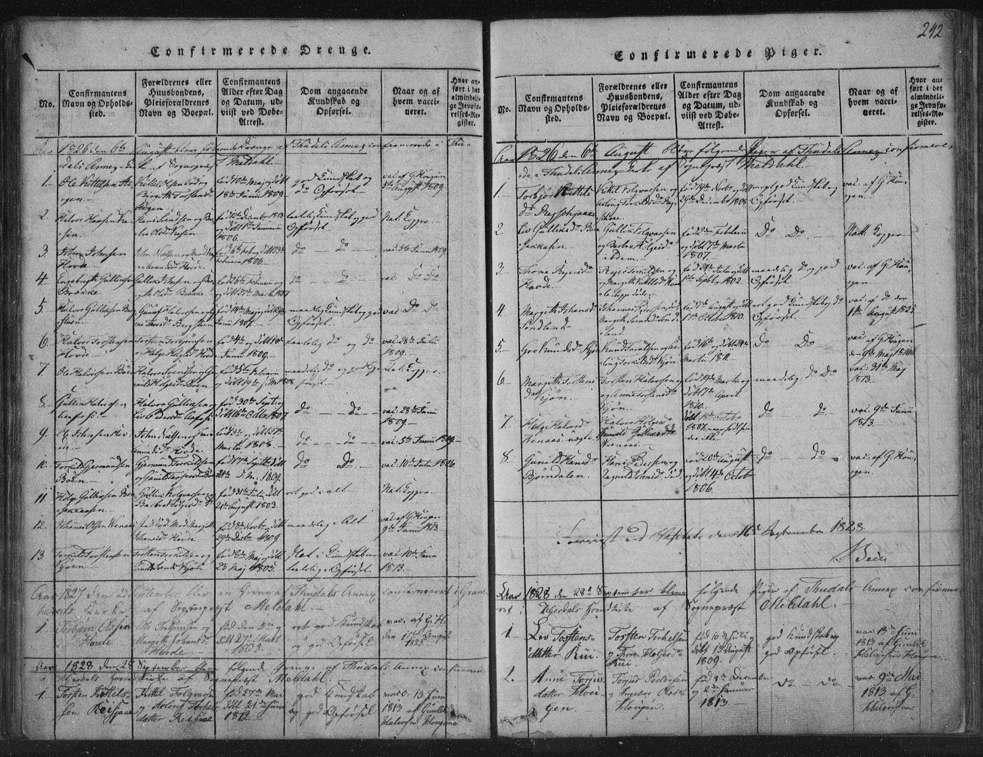 SAKO, Hjartdal kirkebøker, F/Fc/L0001: Ministerialbok nr. III 1, 1815-1843, s. 242