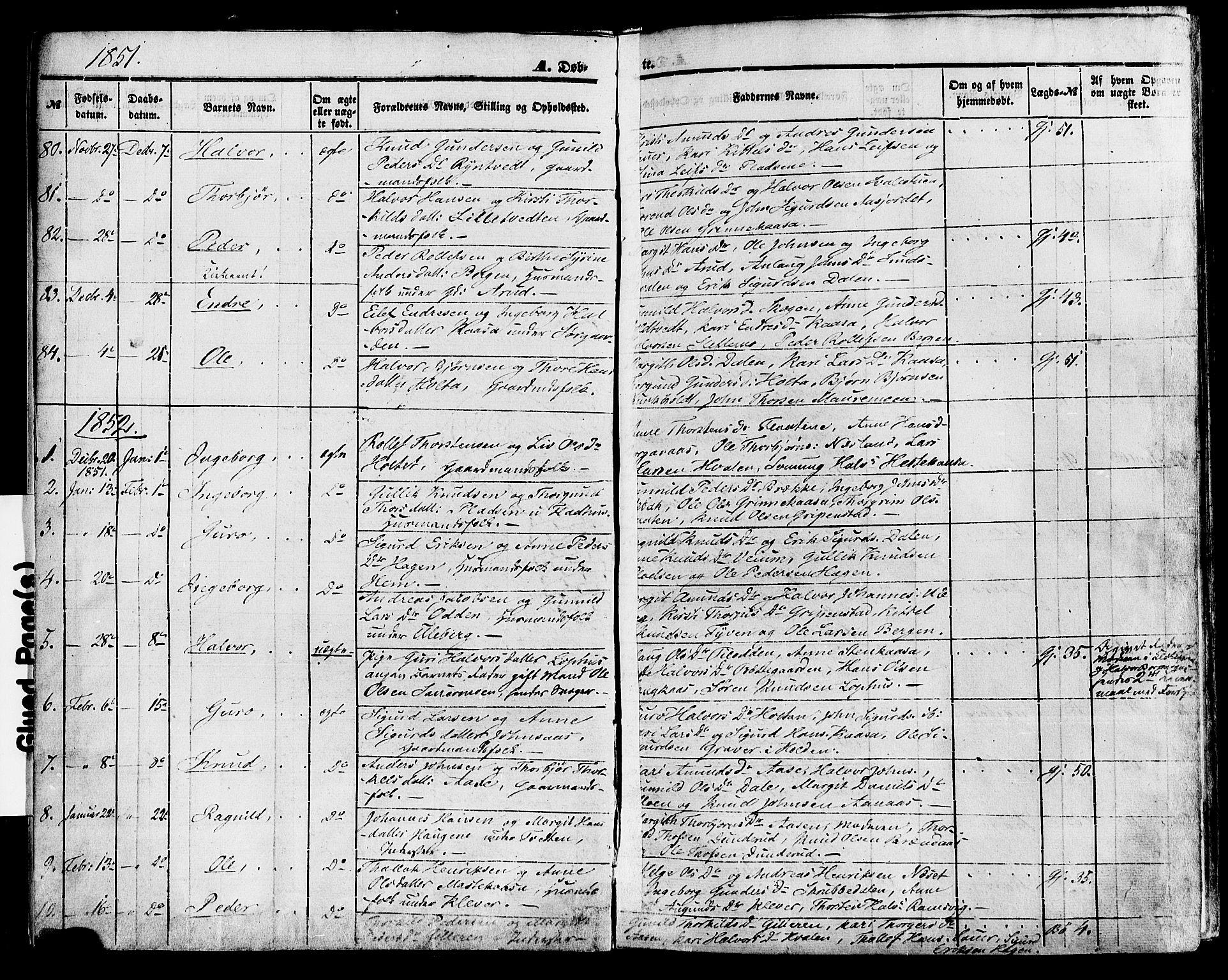SAKO, Sauherad kirkebøker, F/Fa/L0007: Ministerialbok nr. I 7, 1851-1873, s. 6