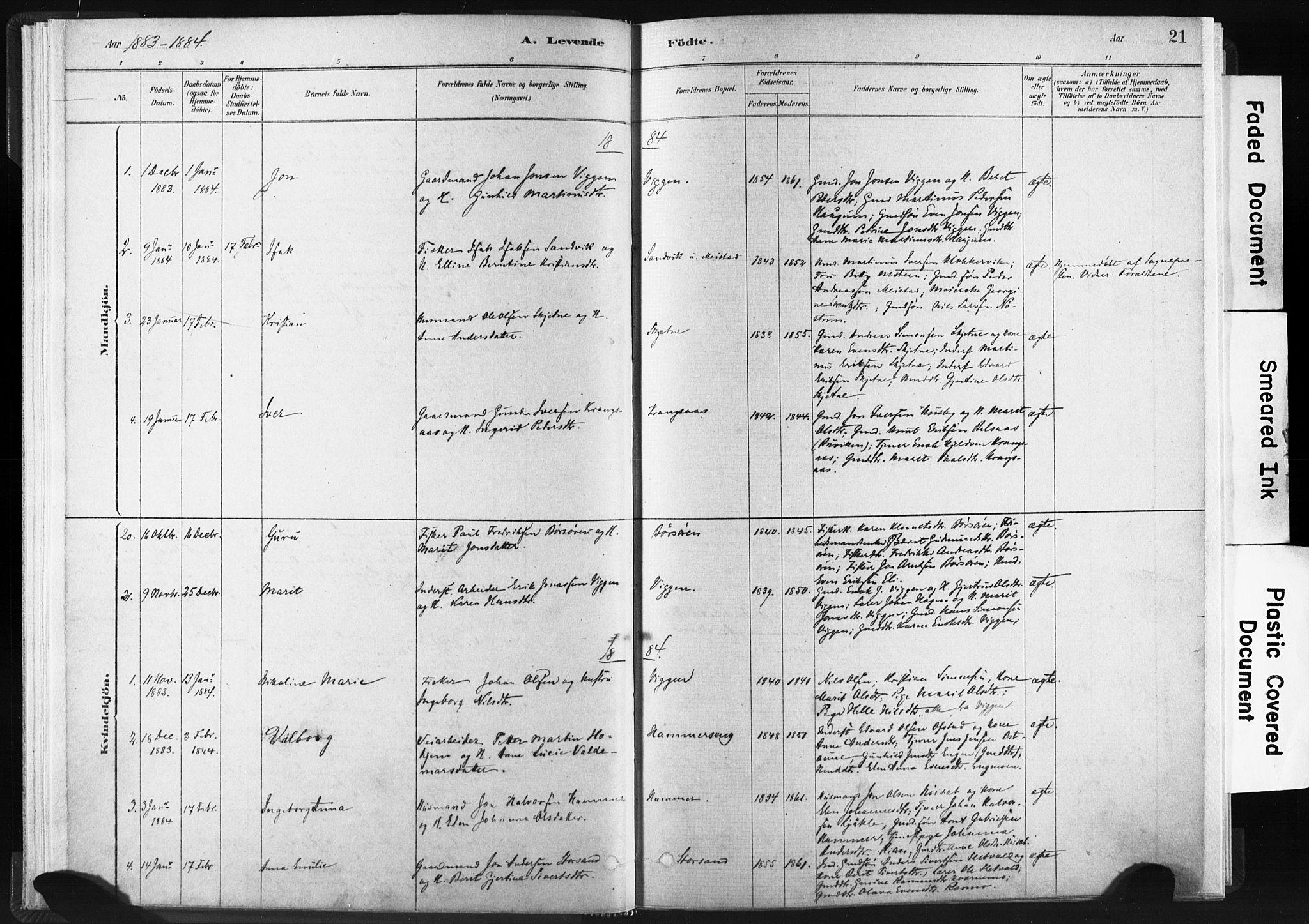 SAT, Ministerialprotokoller, klokkerbøker og fødselsregistre - Sør-Trøndelag, 665/L0773: Ministerialbok nr. 665A08, 1879-1905, s. 21