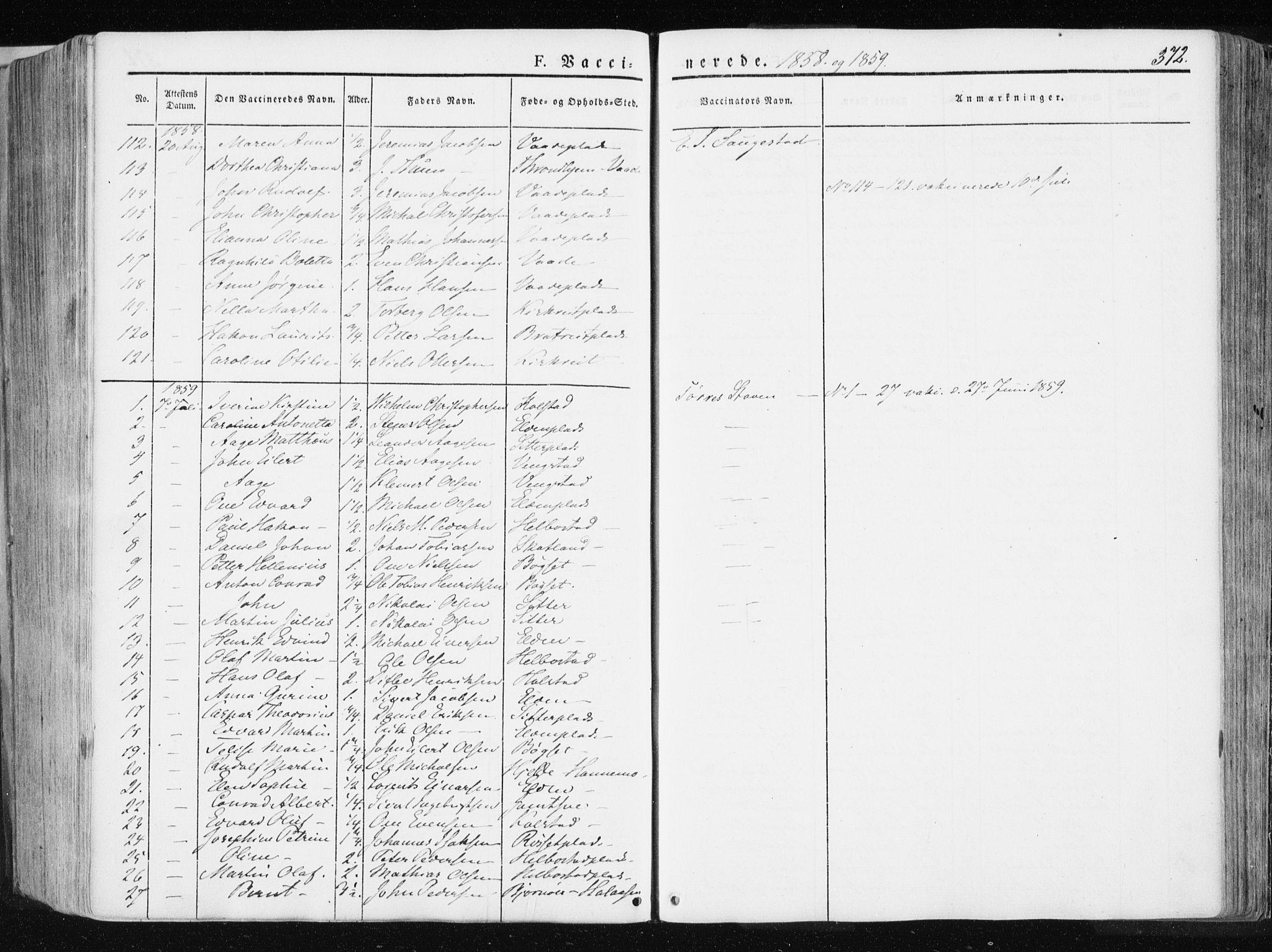 SAT, Ministerialprotokoller, klokkerbøker og fødselsregistre - Nord-Trøndelag, 741/L0393: Ministerialbok nr. 741A07, 1849-1863, s. 372