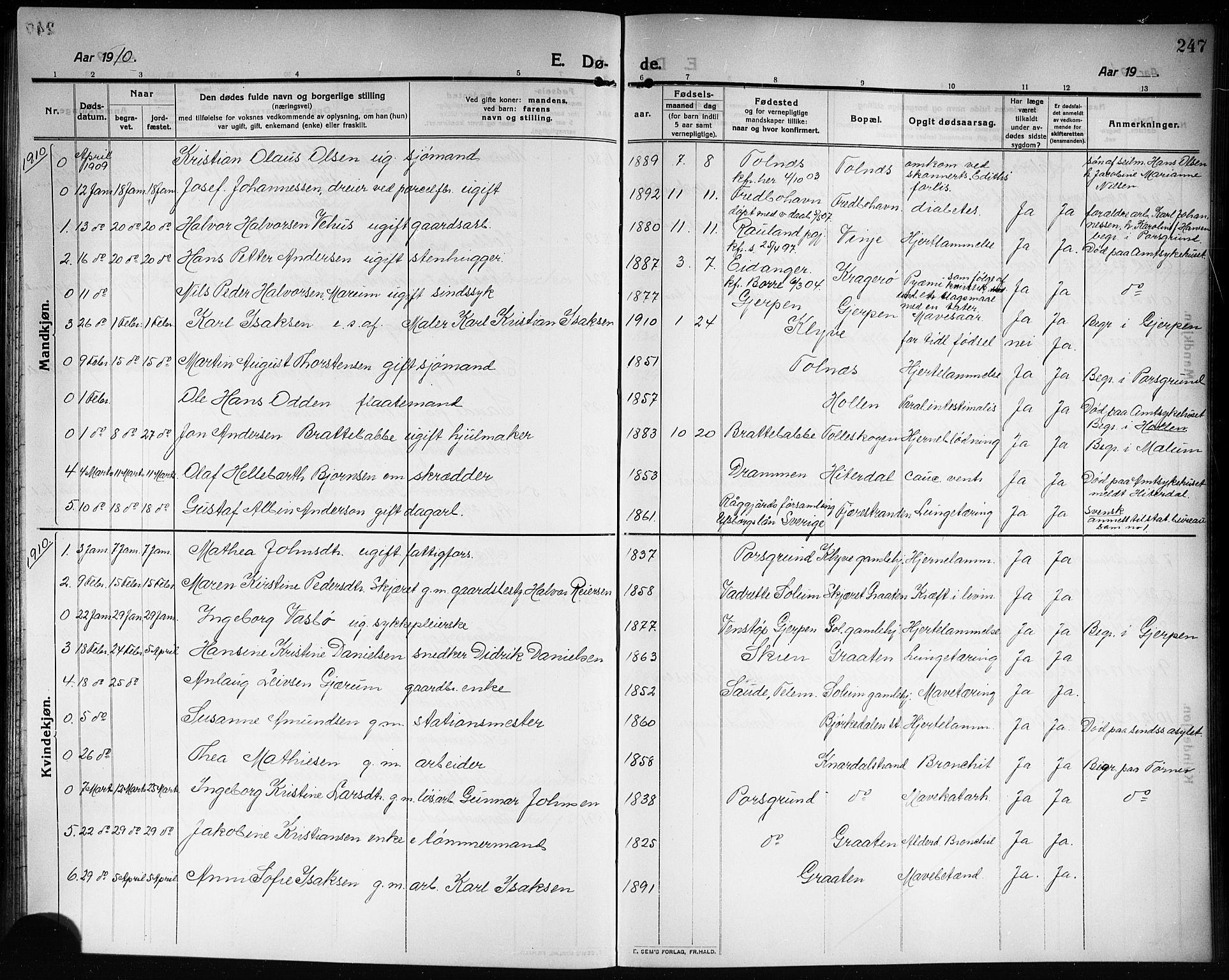 SAKO, Solum kirkebøker, G/Ga/L0009: Klokkerbok nr. I 9, 1909-1922, s. 247