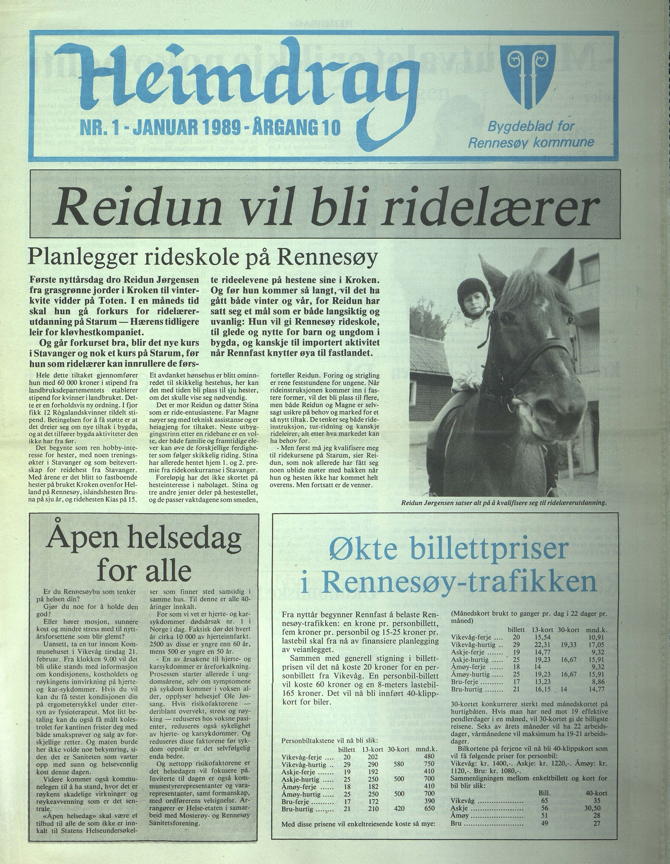 BYST, Rennesøy kommune. Heimdrag, lokalavis, X/Xa/L0011: Heimdrag 1989, 1989