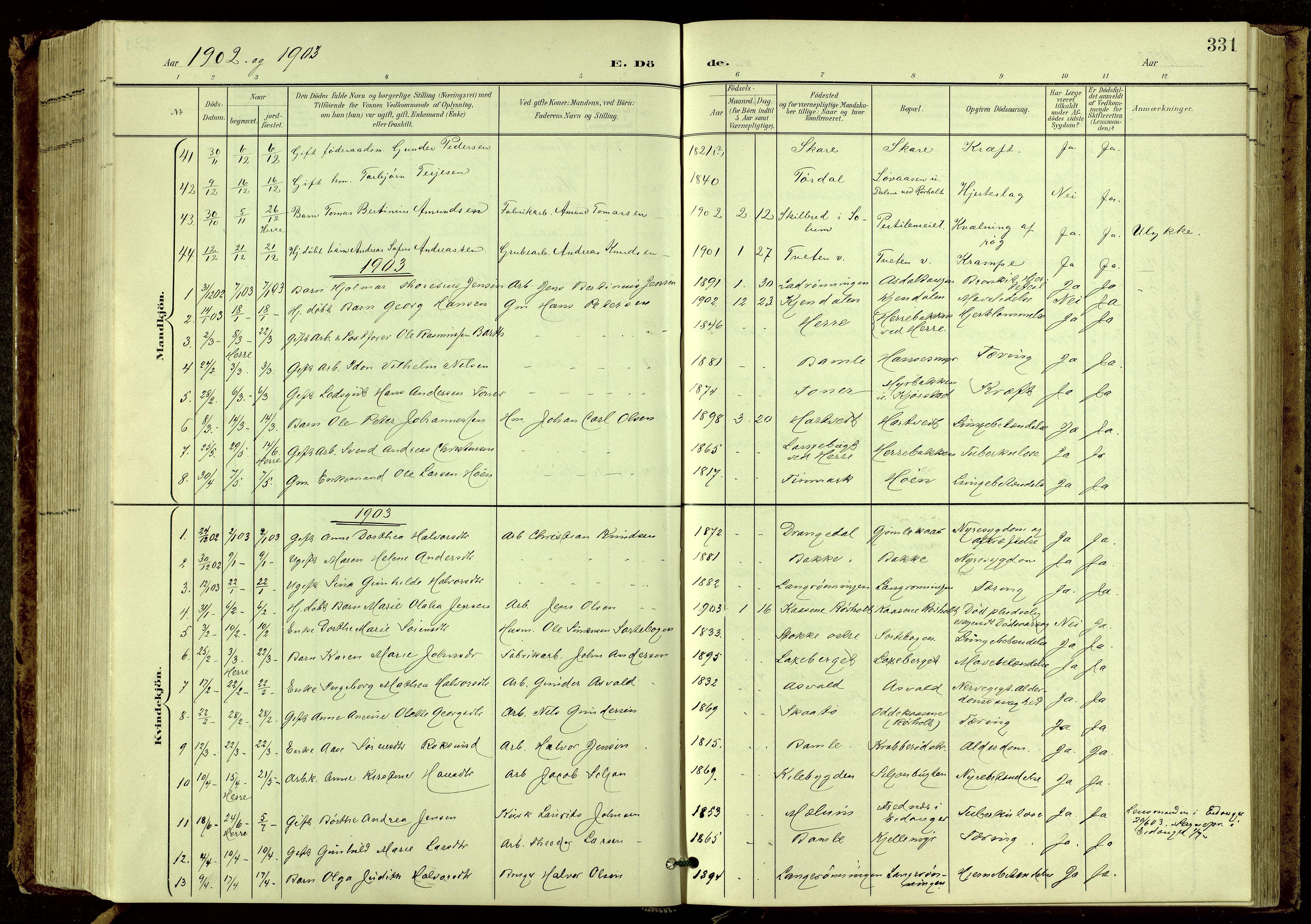 SAKO, Bamble kirkebøker, G/Ga/L0010: Klokkerbok nr. I 10, 1901-1919, s. 331