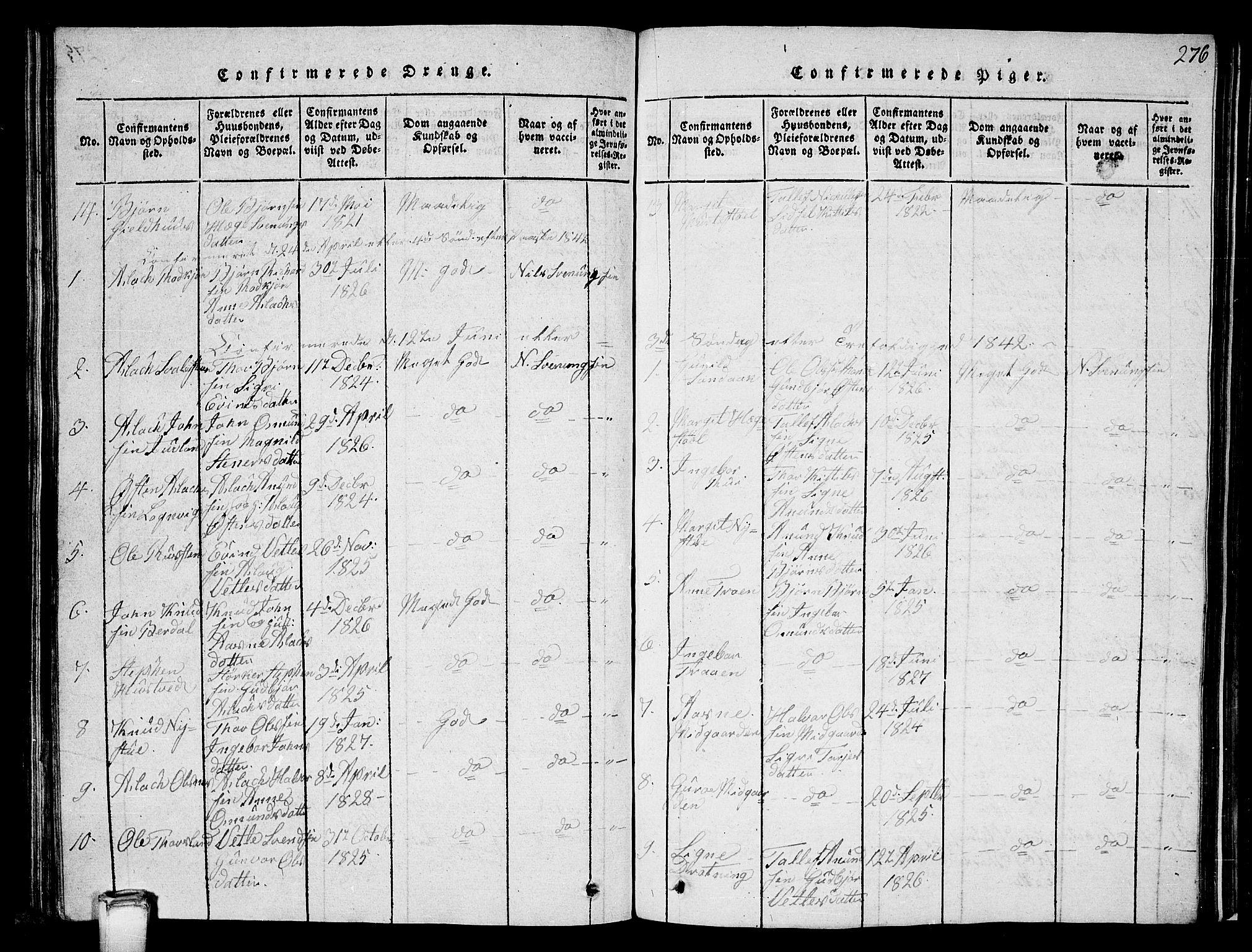 SAKO, Vinje kirkebøker, G/Ga/L0001: Klokkerbok nr. I 1, 1814-1843, s. 276
