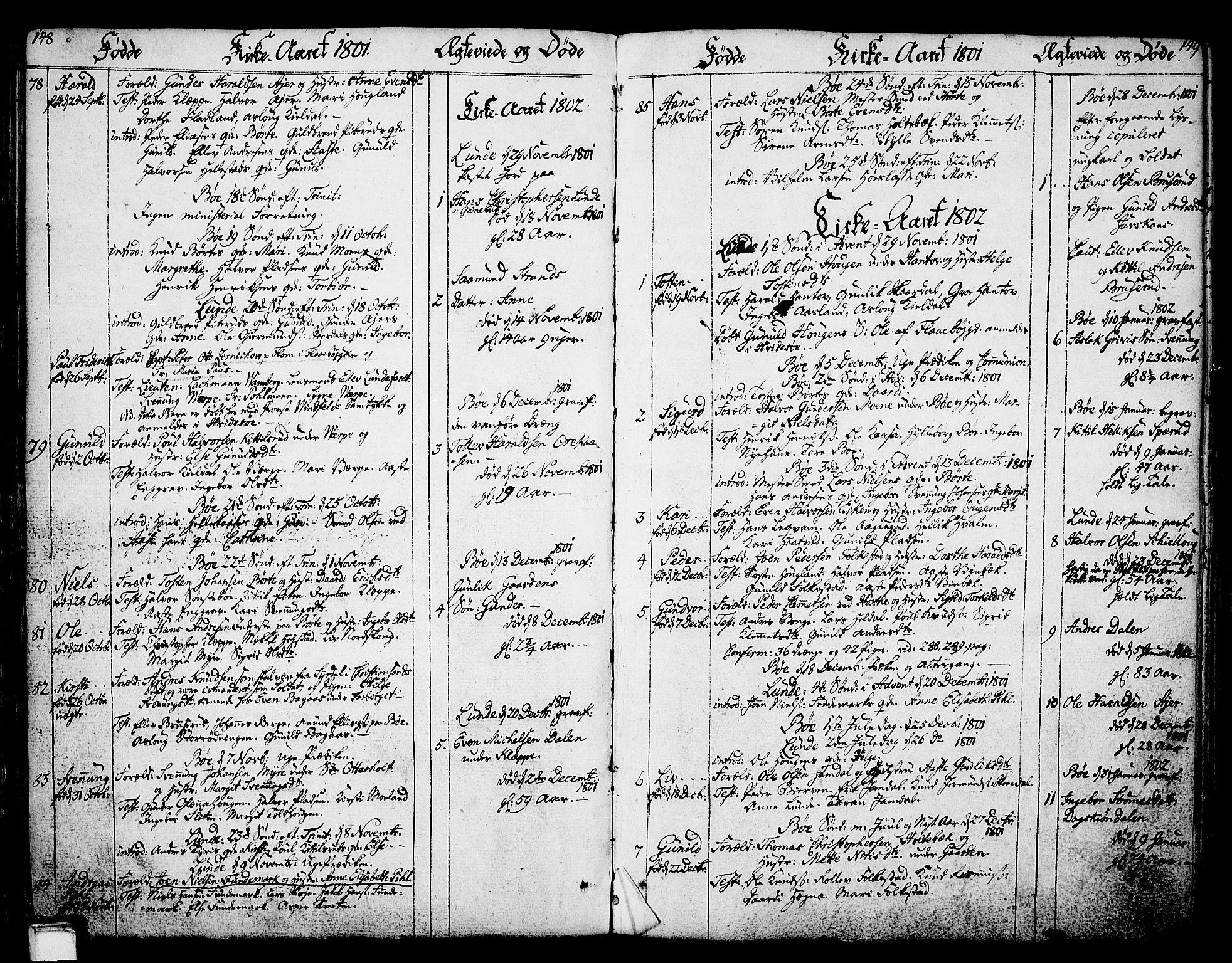 SAKO, Bø kirkebøker, F/Fa/L0005: Ministerialbok nr. 5, 1785-1815, s. 148-149