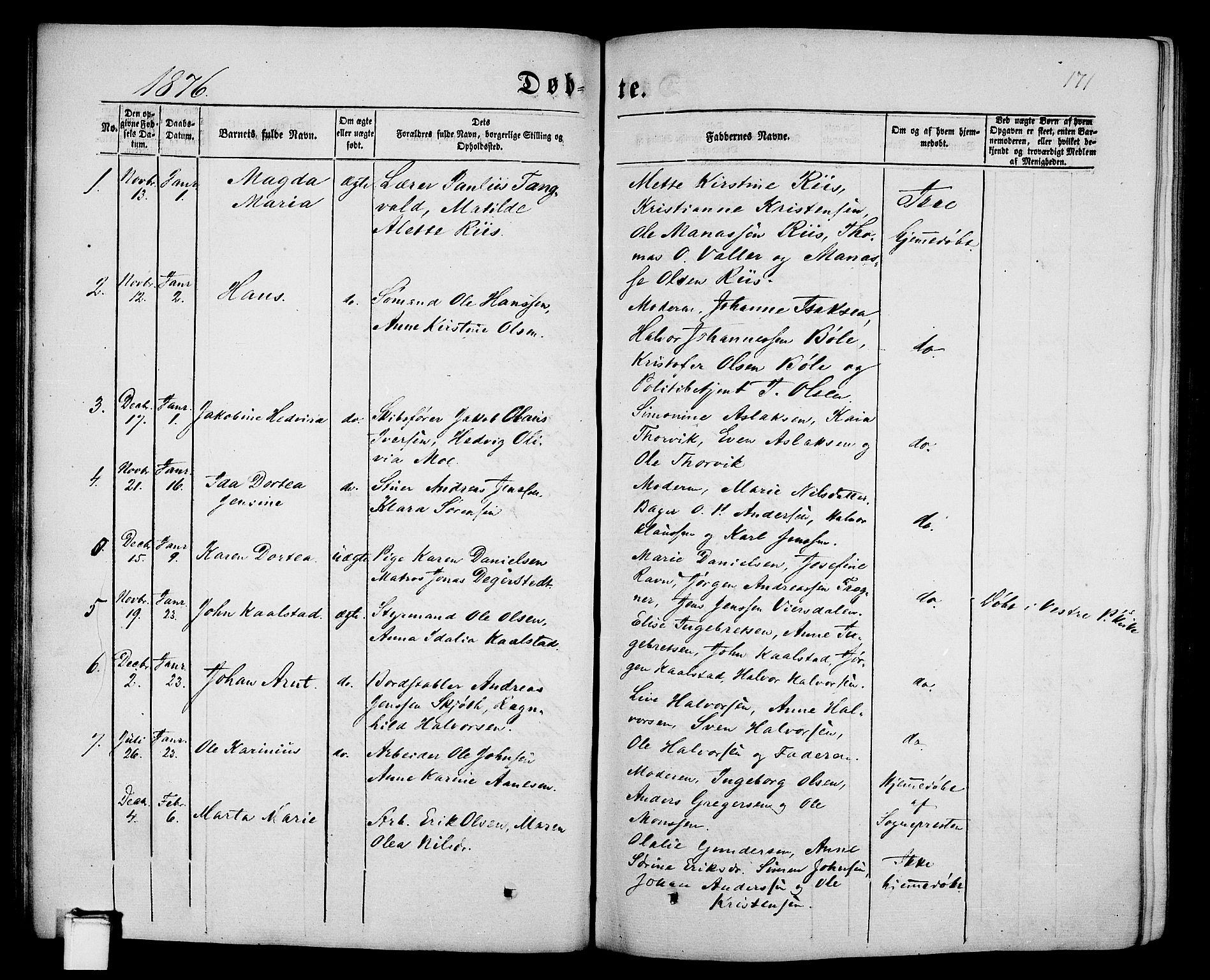 SAKO, Porsgrunn kirkebøker , G/Gb/L0004: Klokkerbok nr. II 4, 1853-1882, s. 171