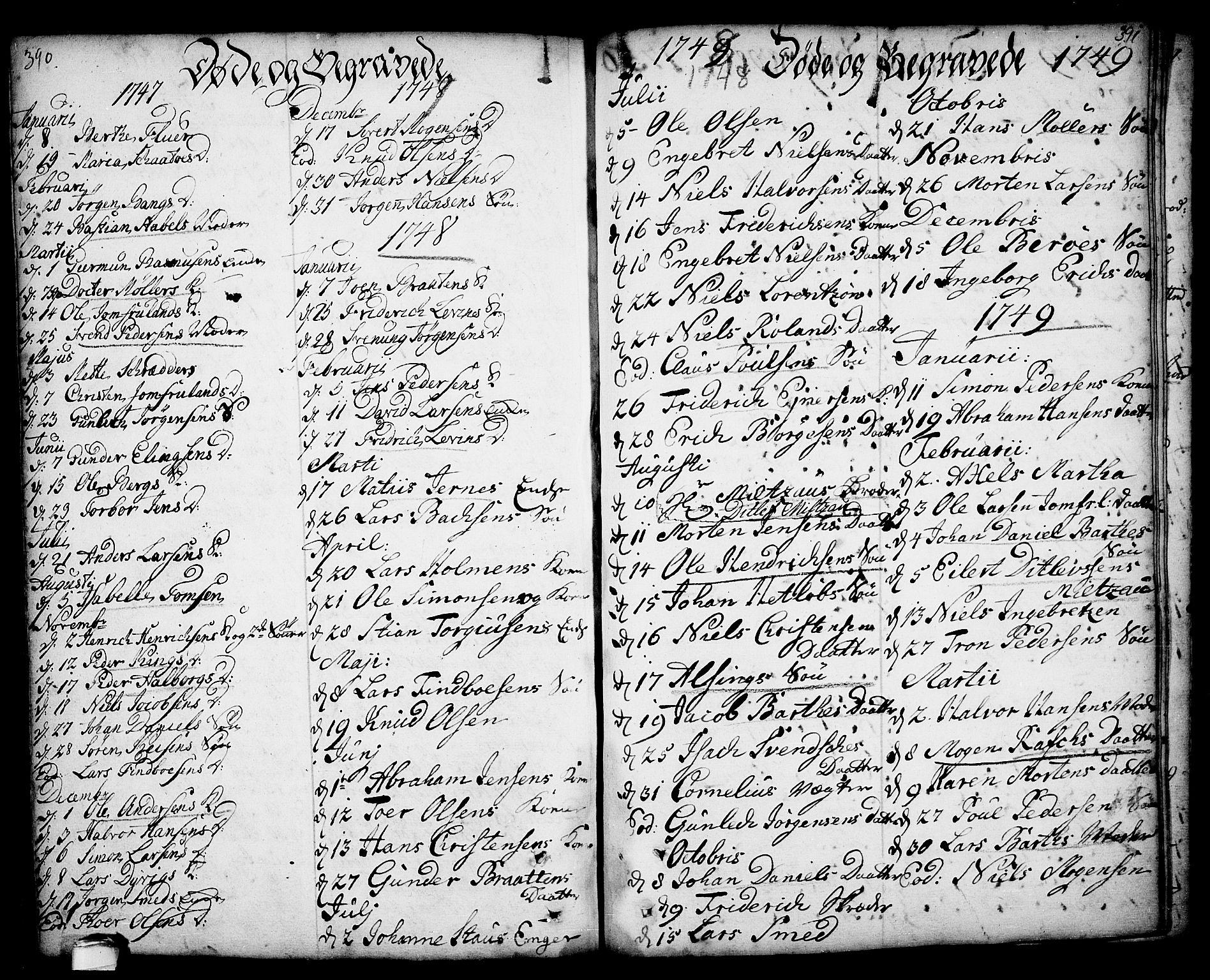 SAKO, Kragerø kirkebøker, F/Fa/L0001: Ministerialbok nr. 1, 1702-1766, s. 390-391